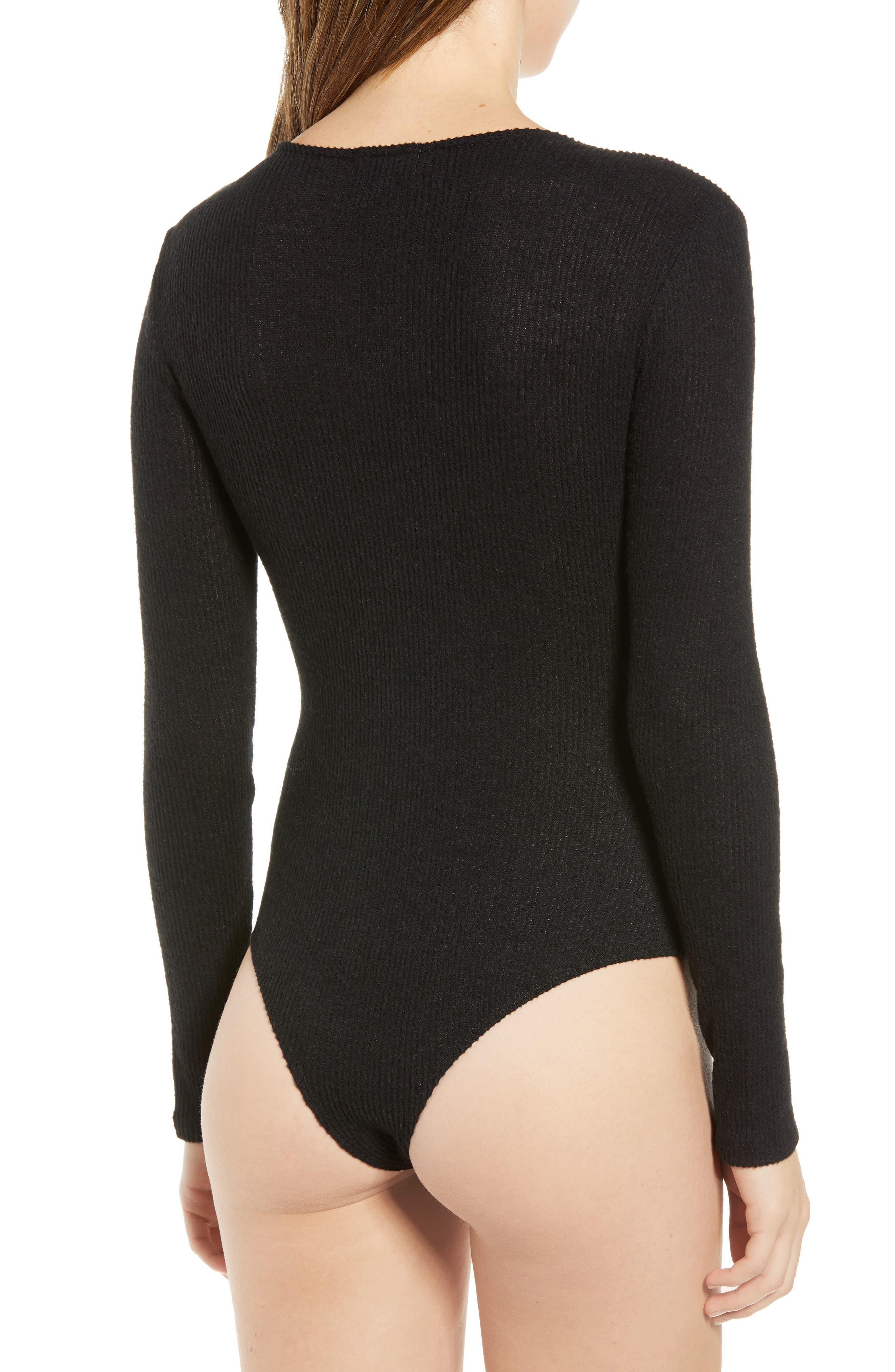 Ribbed V-Neck Bodysuit,                             Alternate thumbnail 3, color,                             BLACK