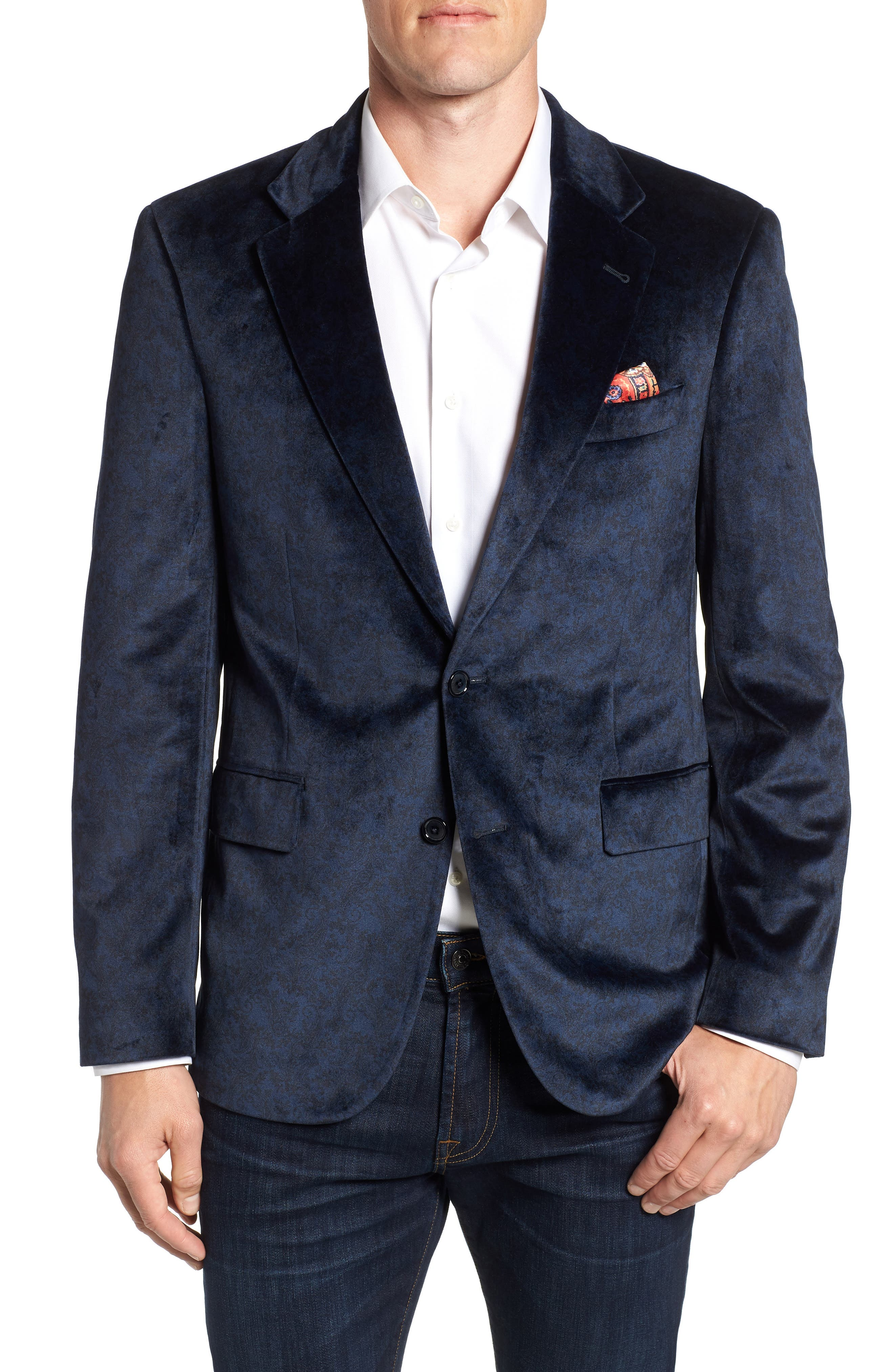 Barton Tailored Fit Blazer,                         Main,                         color, NAVY
