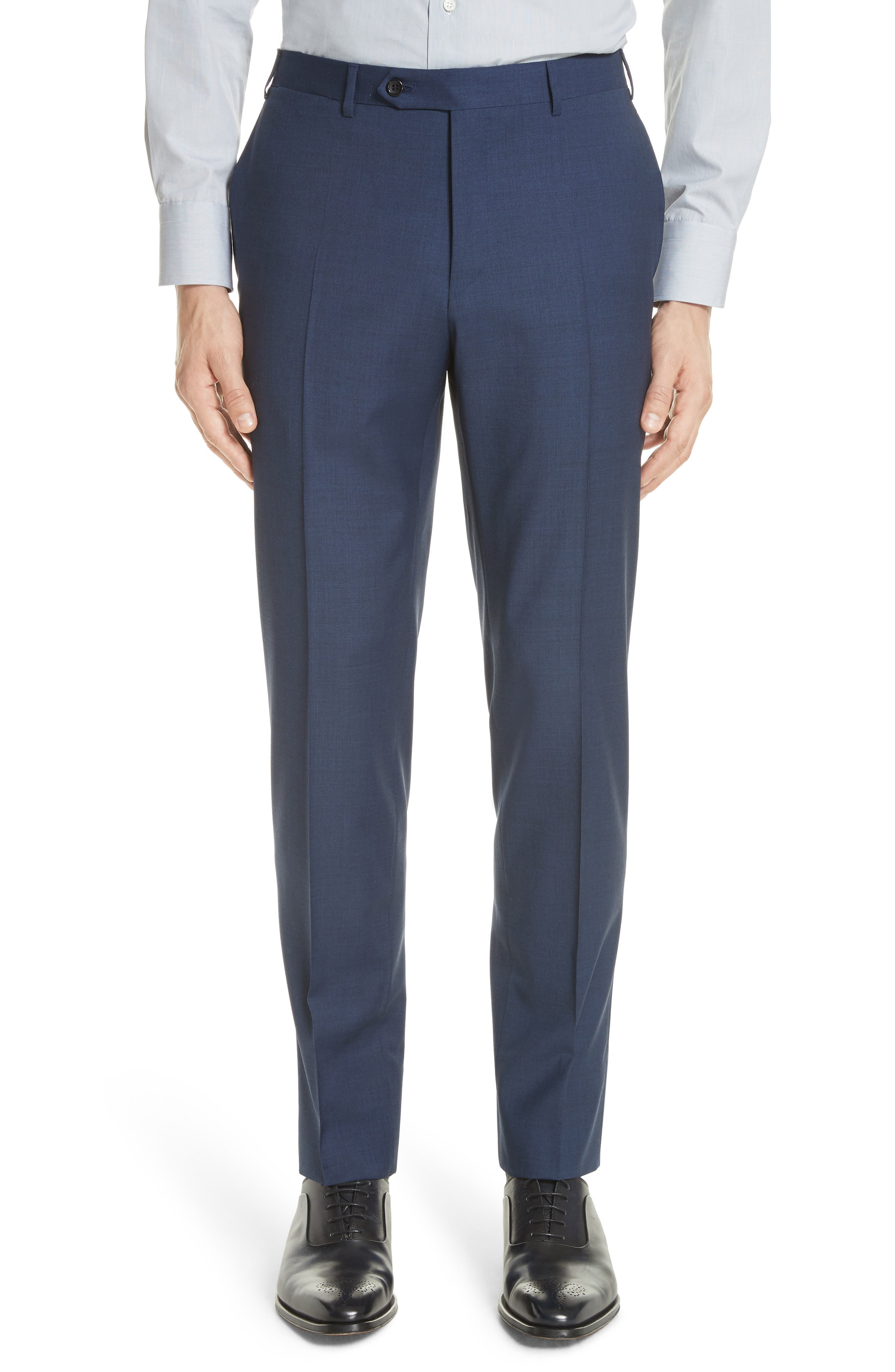 Kei Flat Front Solid Wool Trousers,                             Main thumbnail 2, color,