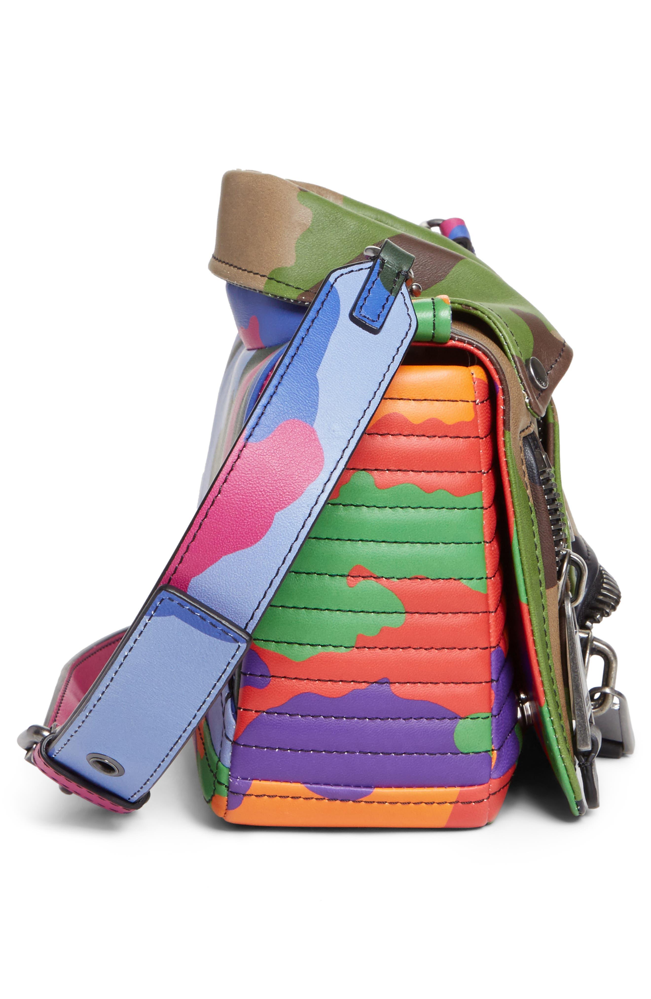 Small Biker Jacket Multi Camo Shoulder Bag,                             Alternate thumbnail 5, color,                             340