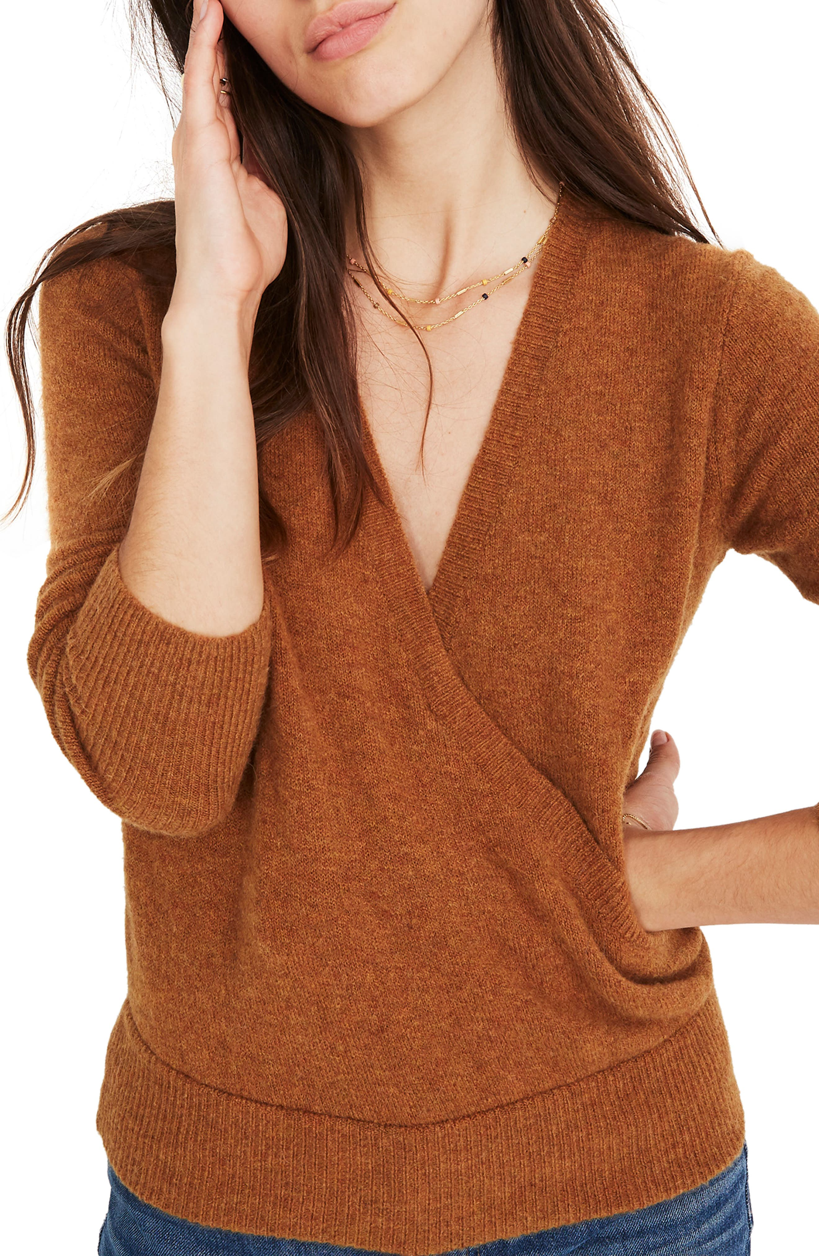 Faux Wrap Pullover Sweater,                         Main,                         color, HEATHER HARVEST