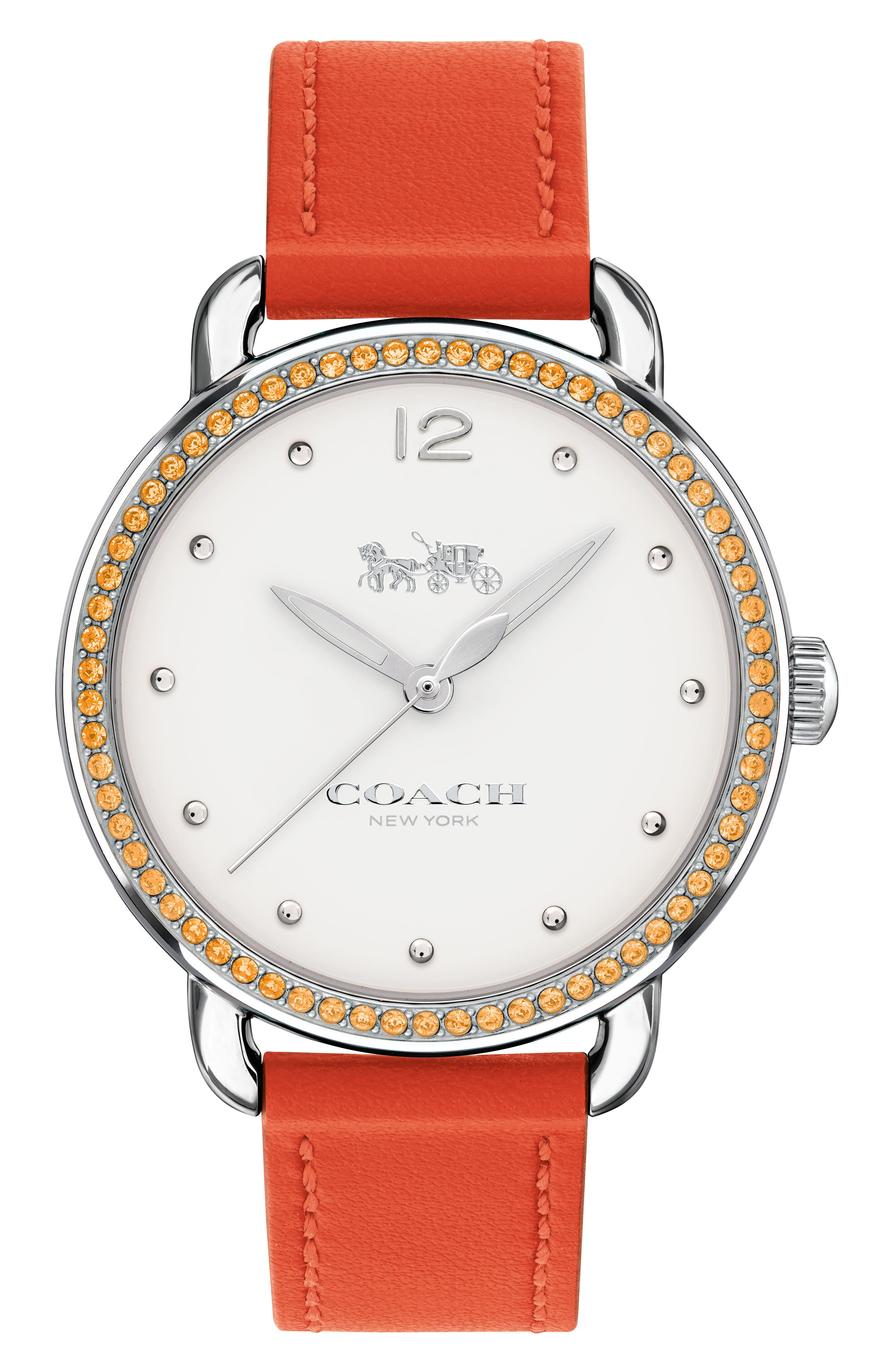Delancey Pavé Bezel Leather Strap Watch, 36mm,                             Main thumbnail 8, color,