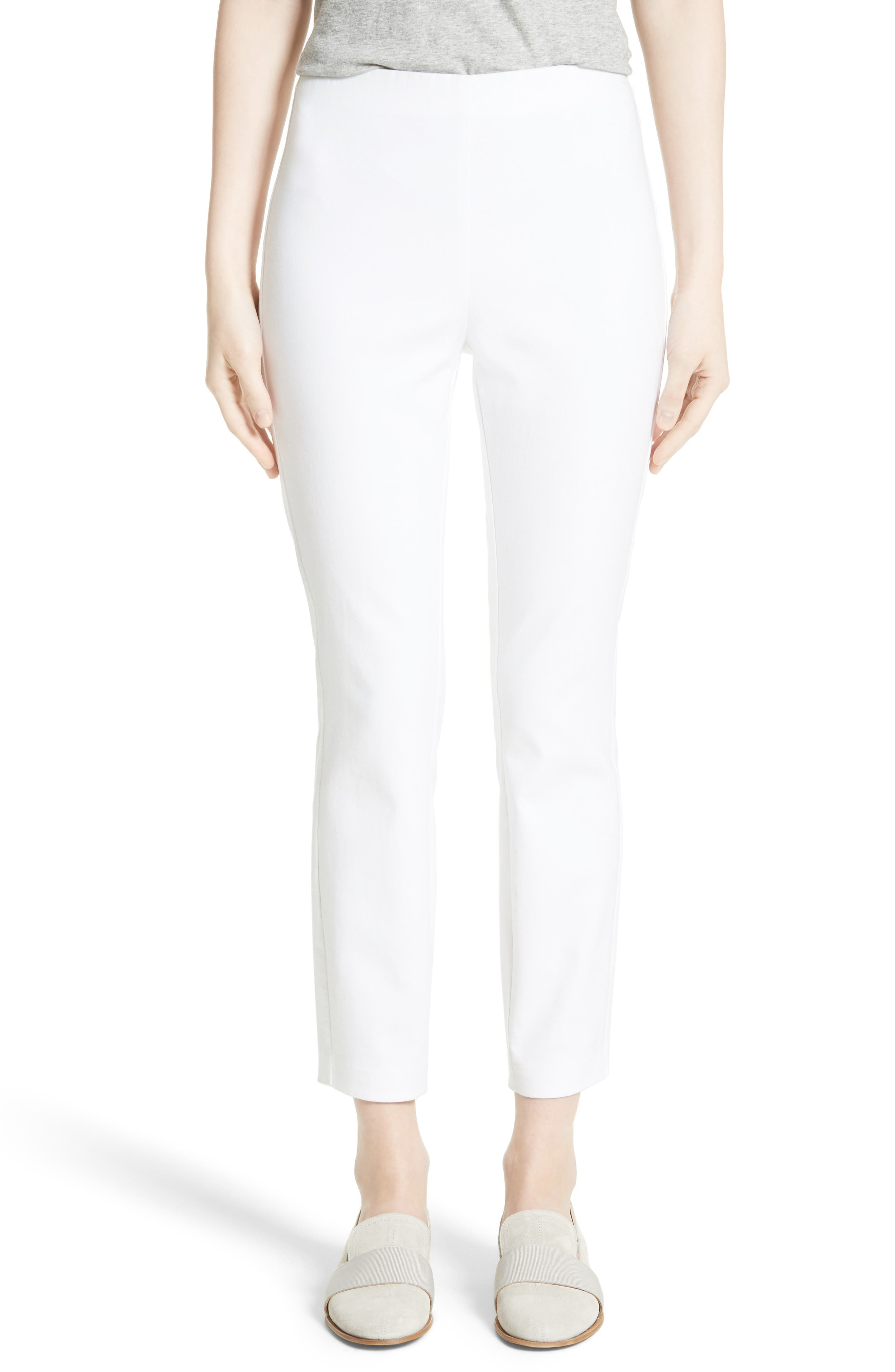 'Simone' Slim Ankle Pants,                             Main thumbnail 1, color,                             WHITE