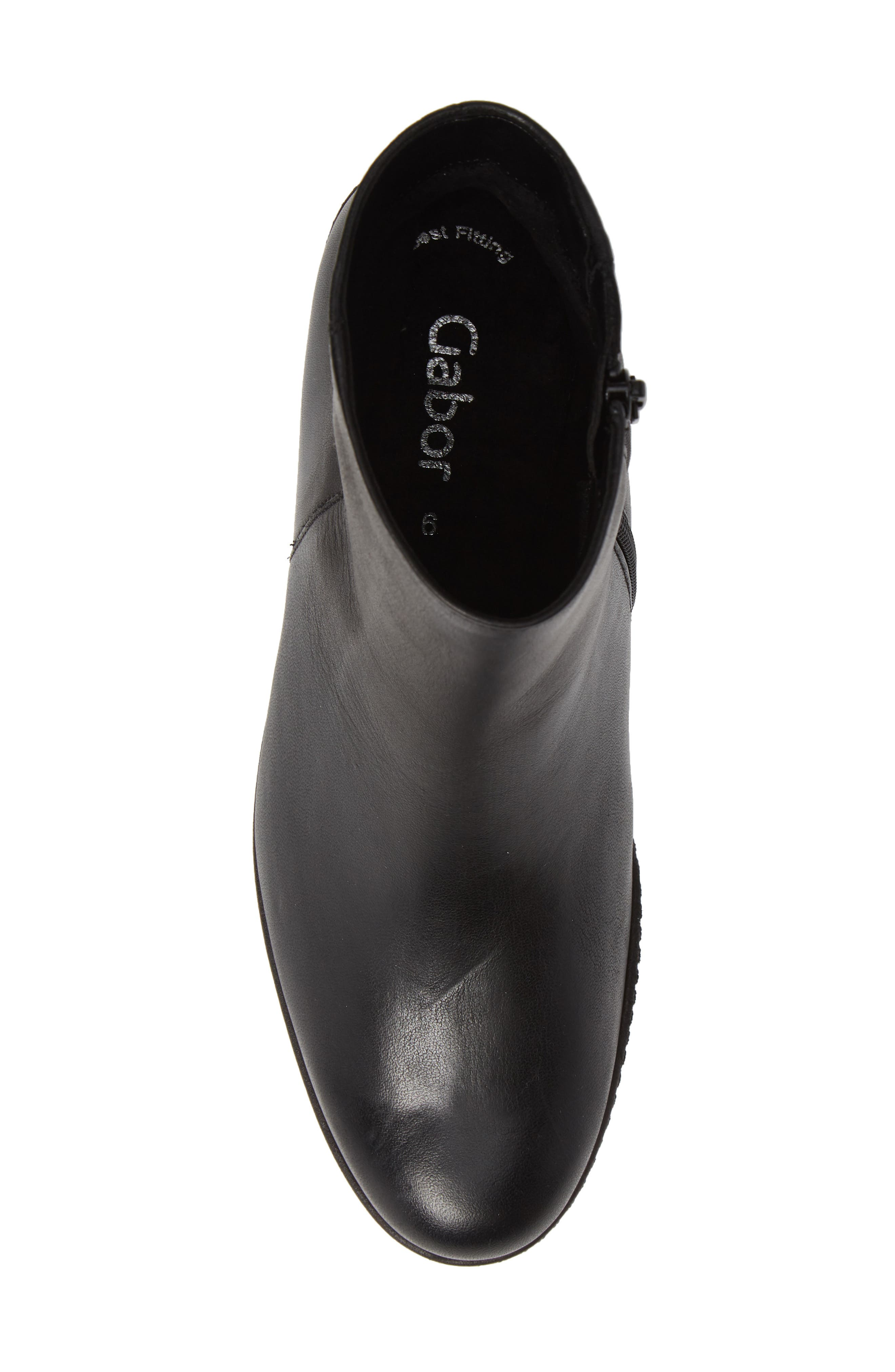 Friendly Wedge Bootie,                             Alternate thumbnail 5, color,                             BLACK LEATHER