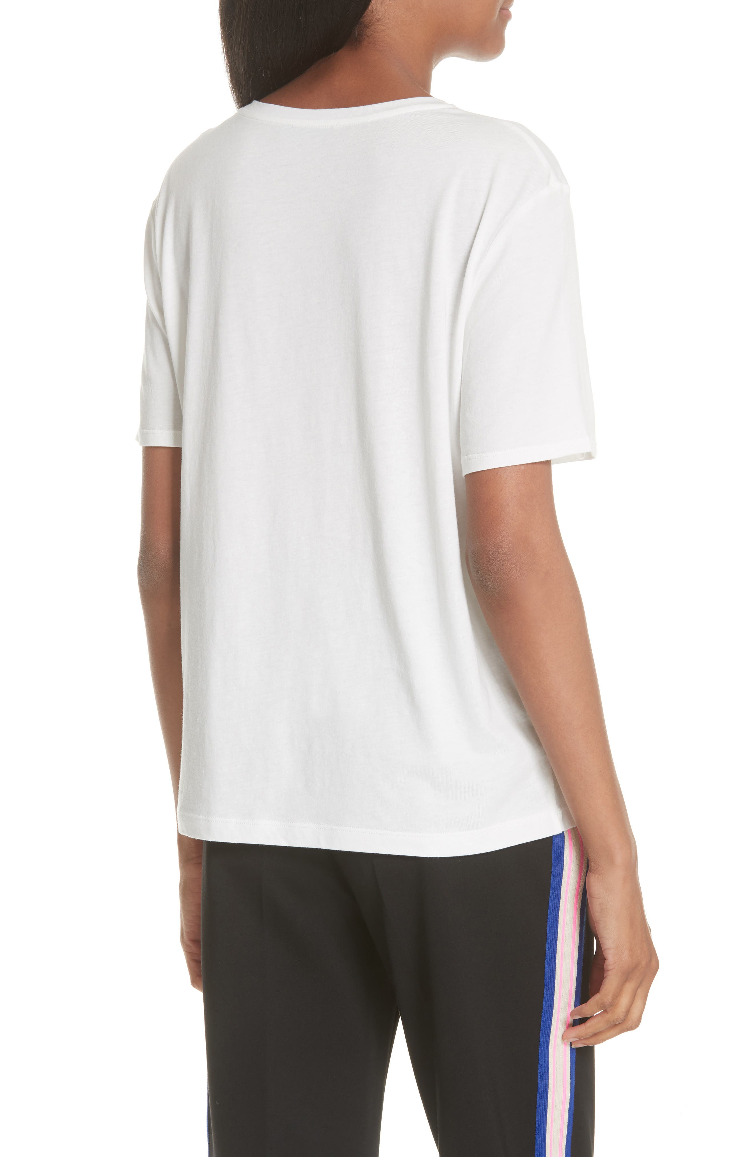 SANDRO,                             Embroidery Cotton Blend Tee,                             Alternate thumbnail 2, color,                             100