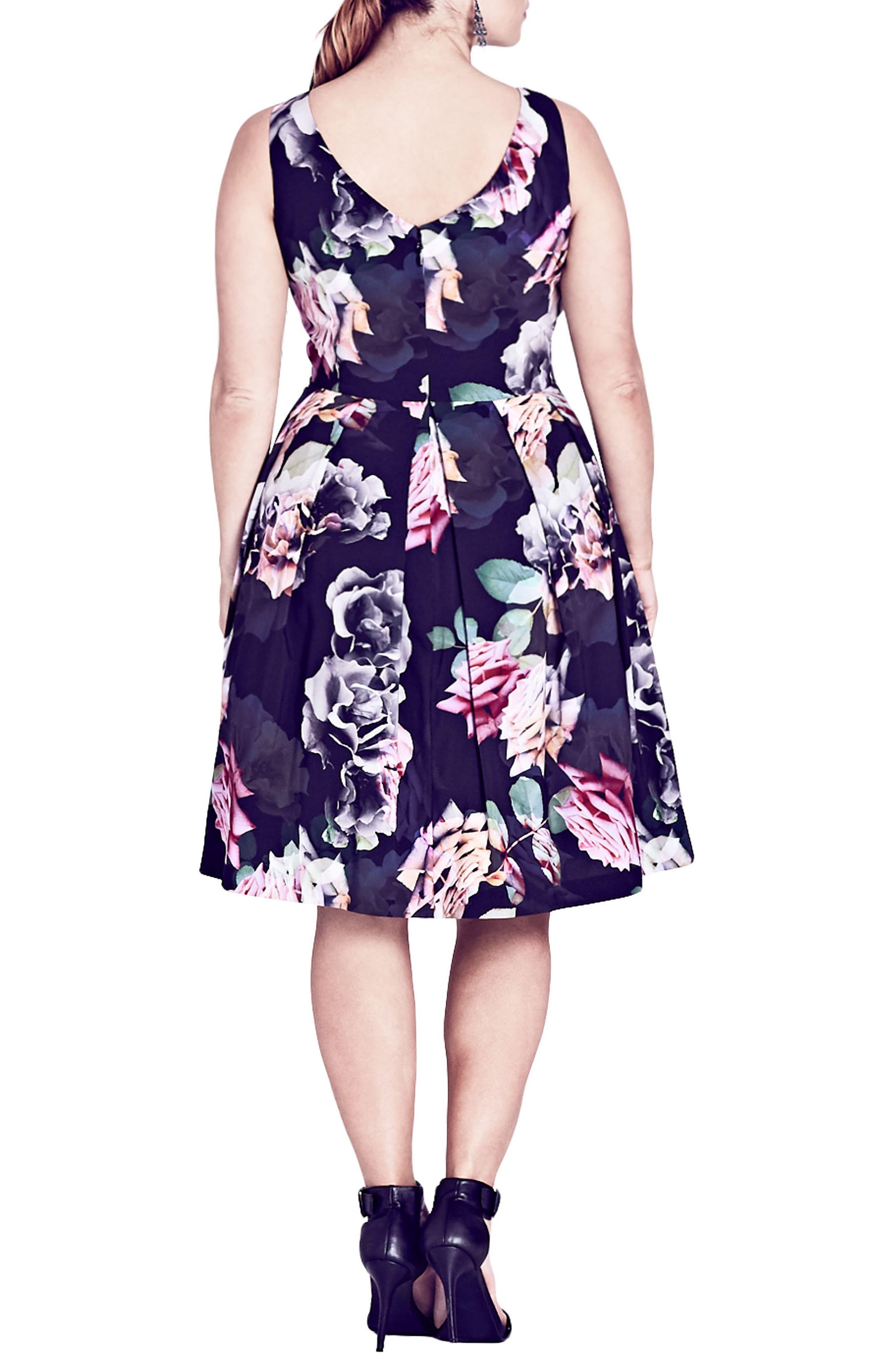 Rose Jewel Fit & Flare Dress,                             Alternate thumbnail 2, color,                             001