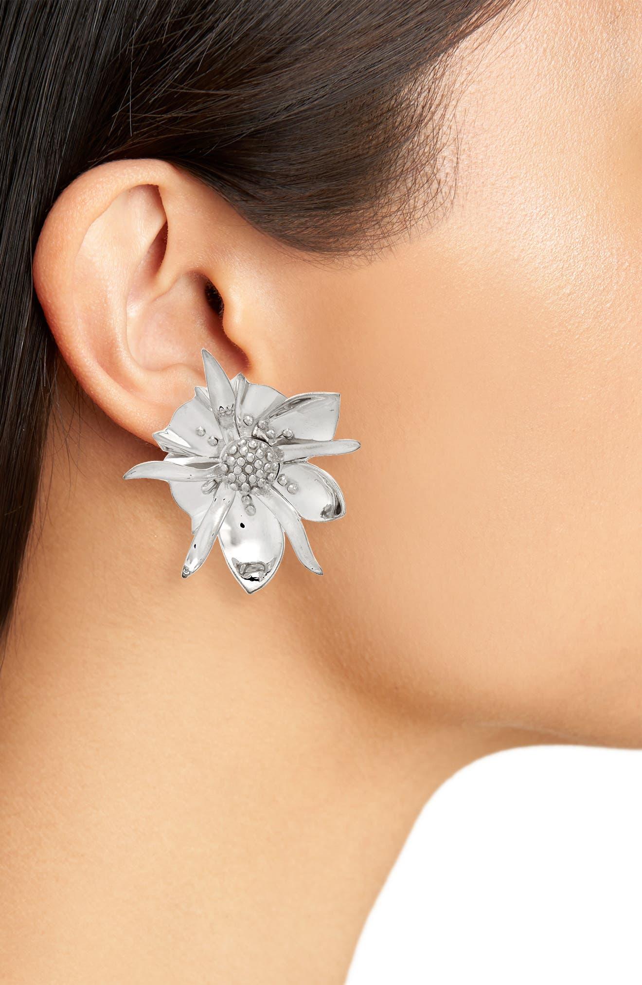Large Wildflower Stud Earrings,                             Alternate thumbnail 2, color,                             STERLING SILVER