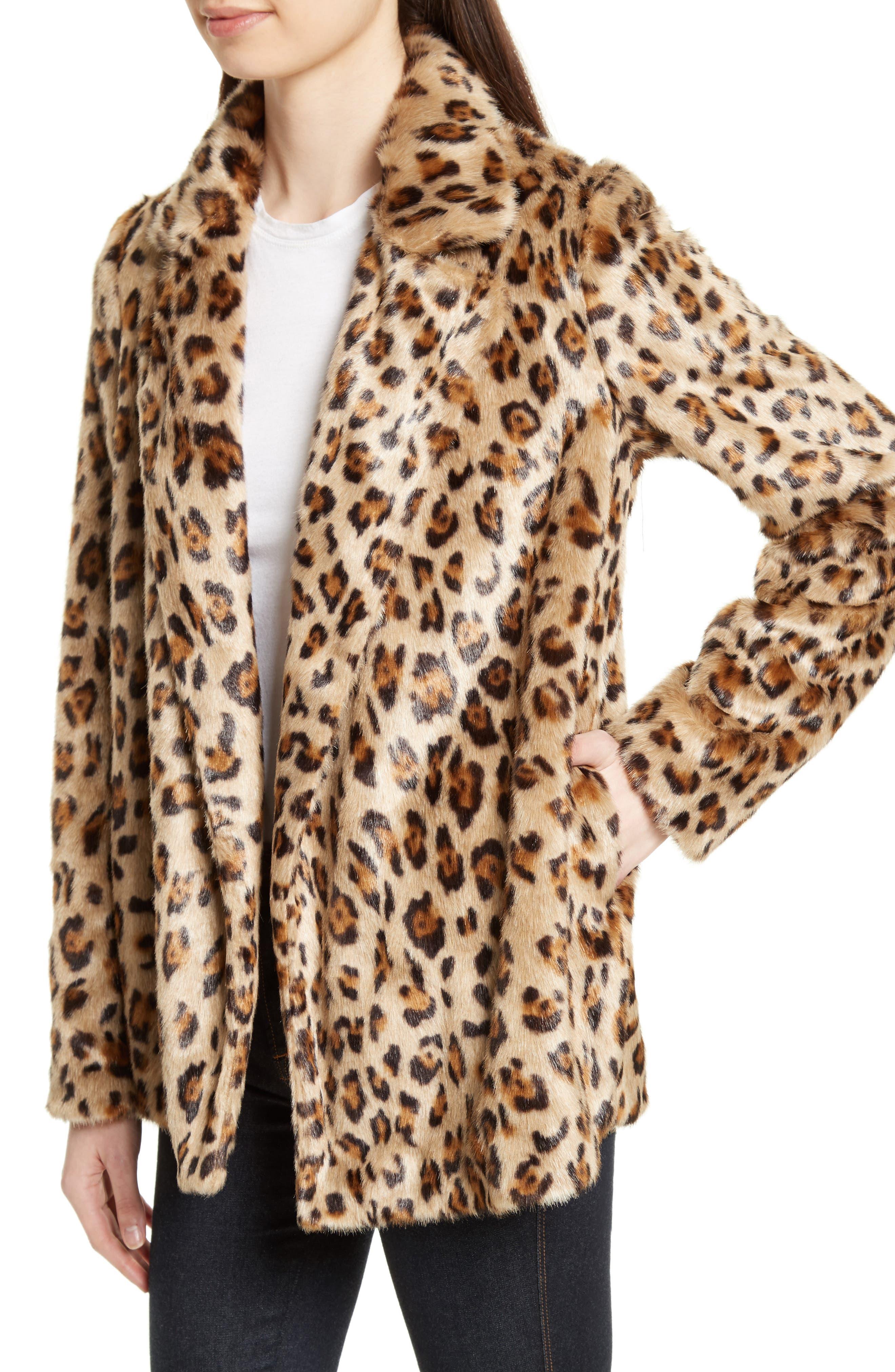 Clairene Leopard Print Faux Fur Coat,                             Alternate thumbnail 4, color,