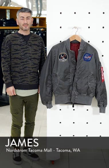 NASA MA-1 Apollo Battleworn Reversible Bomber Jacket, sales video thumbnail
