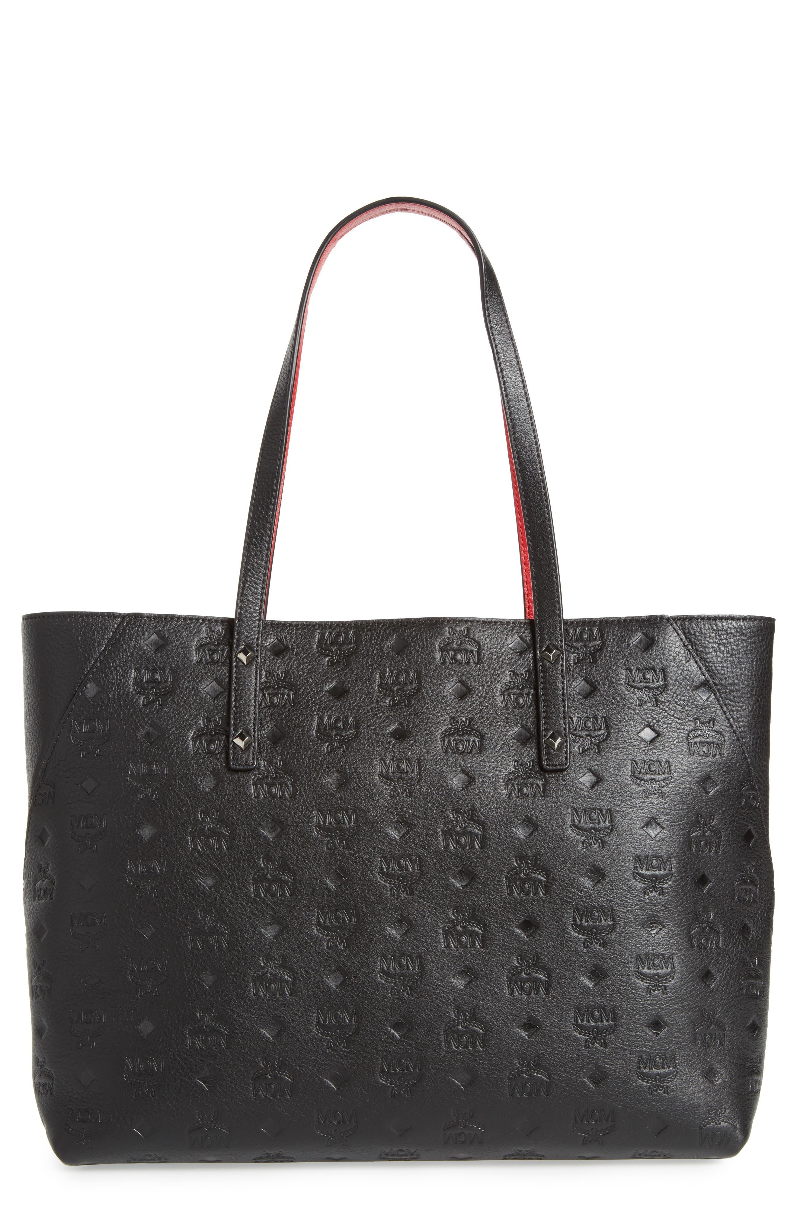 MCM Klara Monogrammed Leather Shopper, Main, color, 001
