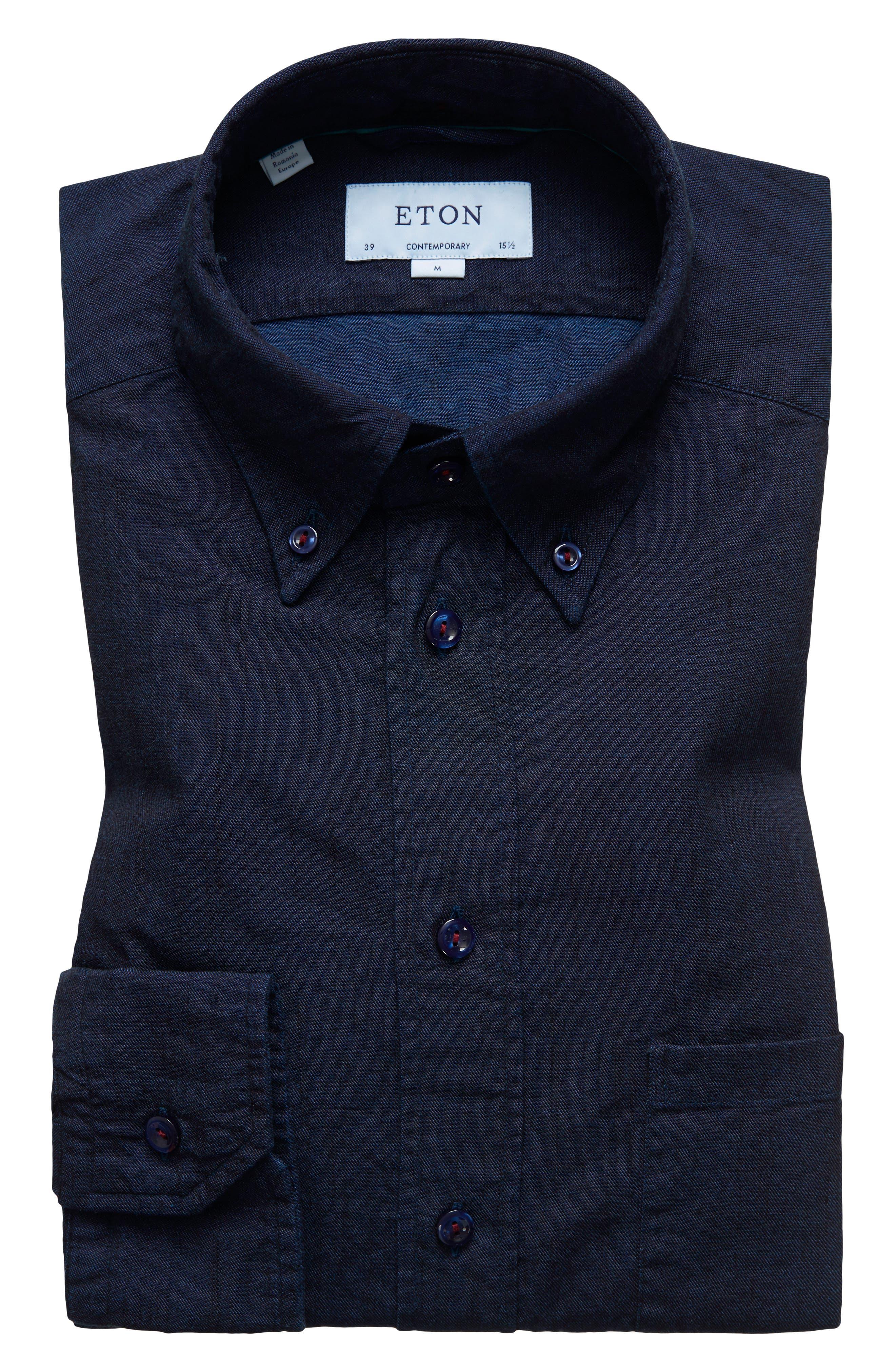 Contemporary Fit Chambray Dress Shirt,                             Main thumbnail 1, color,