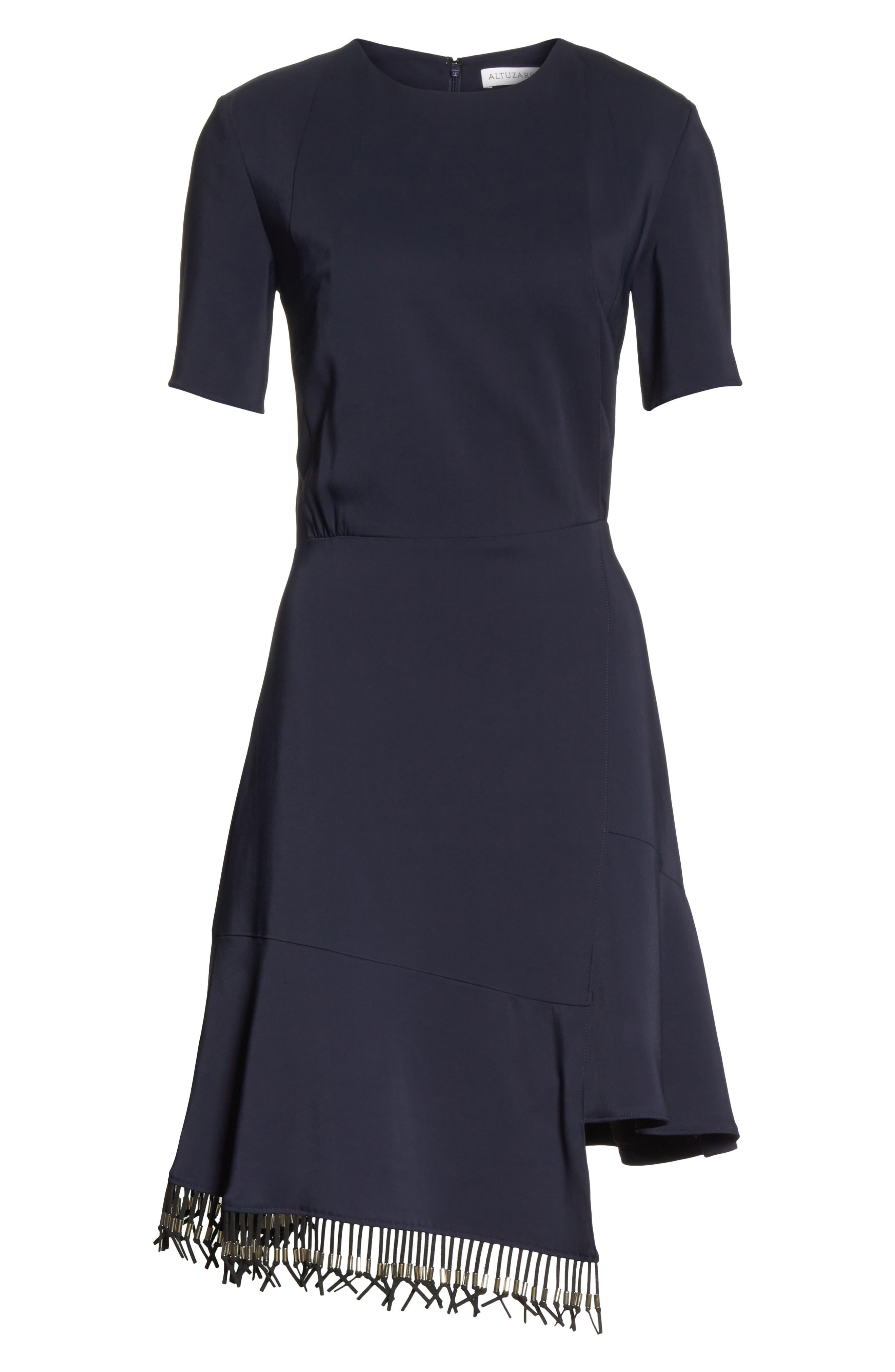 Asymmetrical Fringe Hem Dress,                             Alternate thumbnail 6, color,                             400