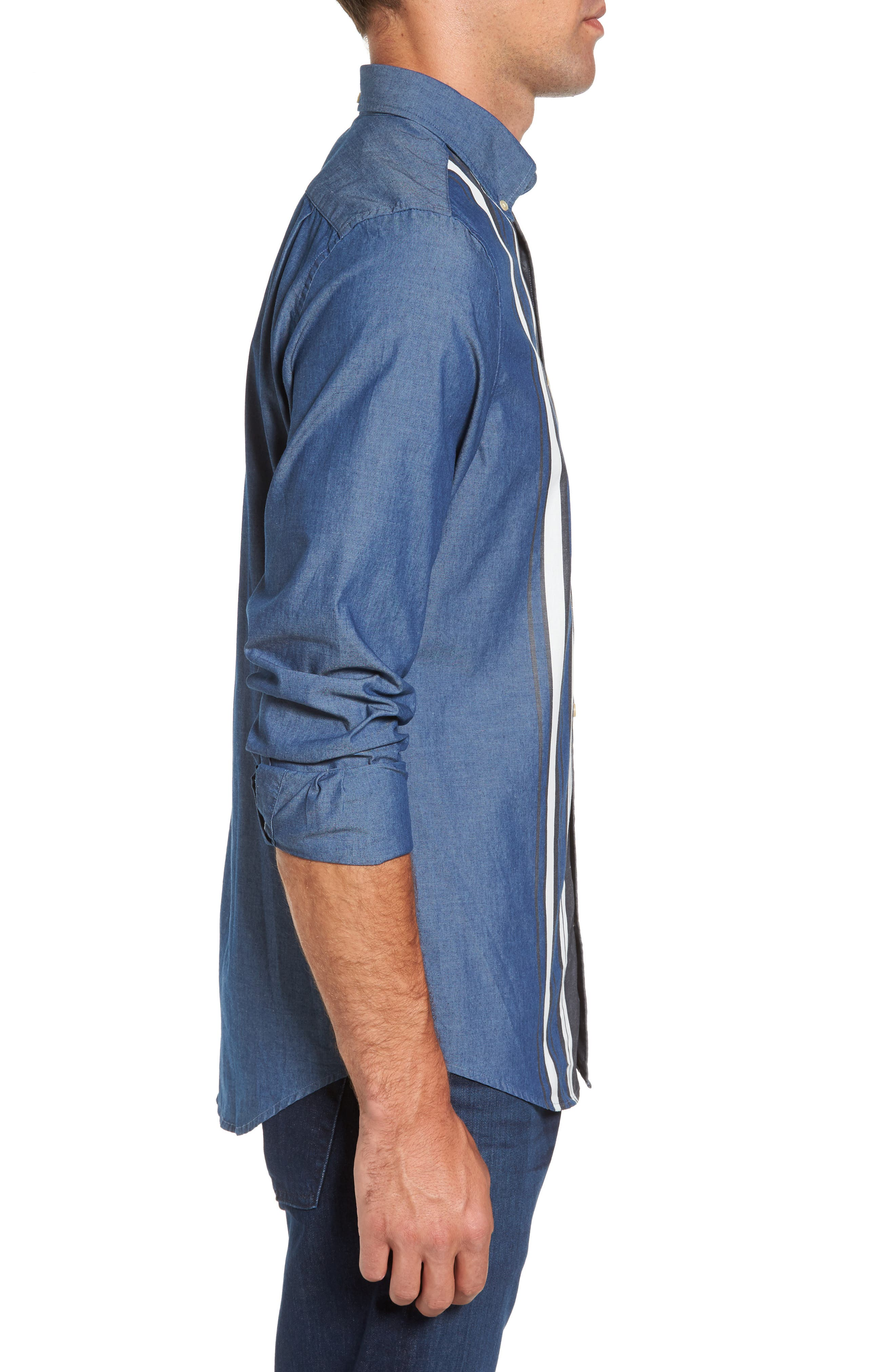 Tech Slim Fit Varsity Stripe Sport Shirt,                             Alternate thumbnail 3, color,                             433