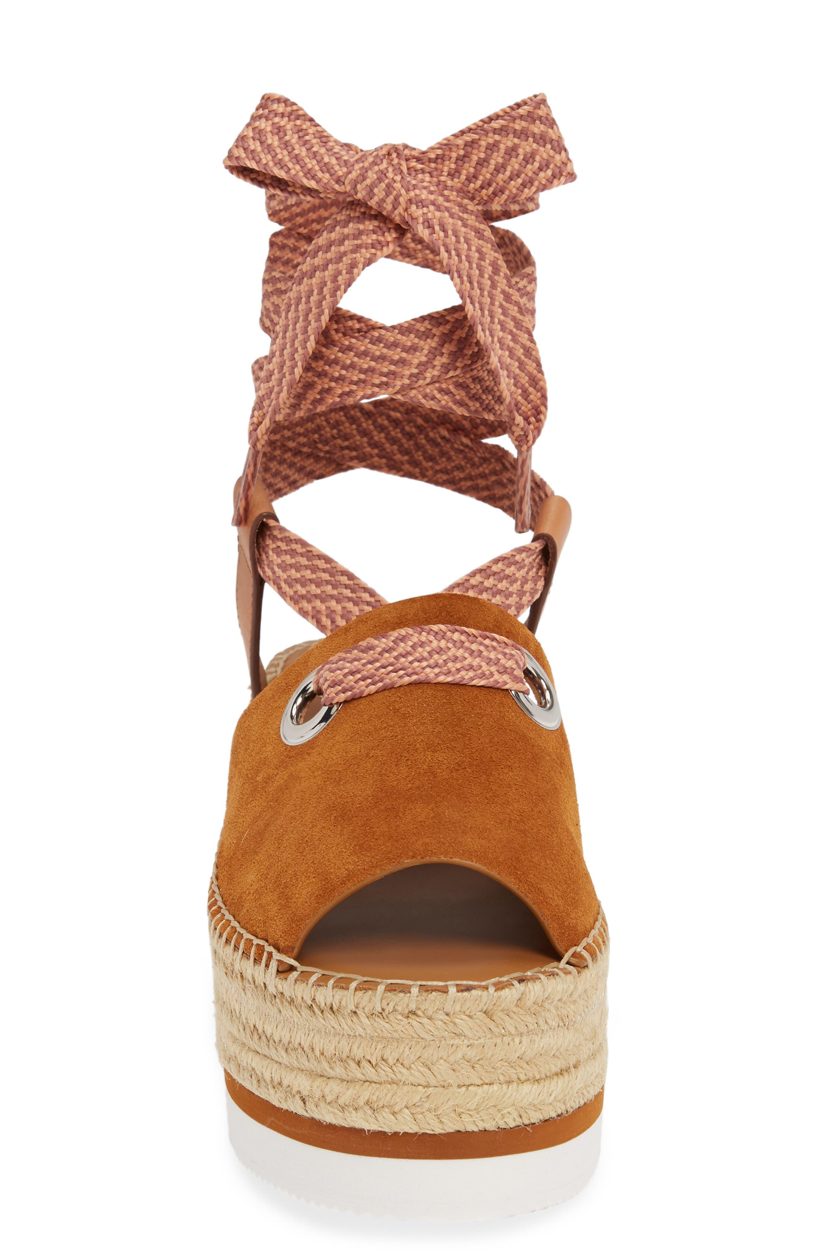 Glyn Amber Platform Ankle Wrap Sandal,                             Alternate thumbnail 4, color,                             TAN