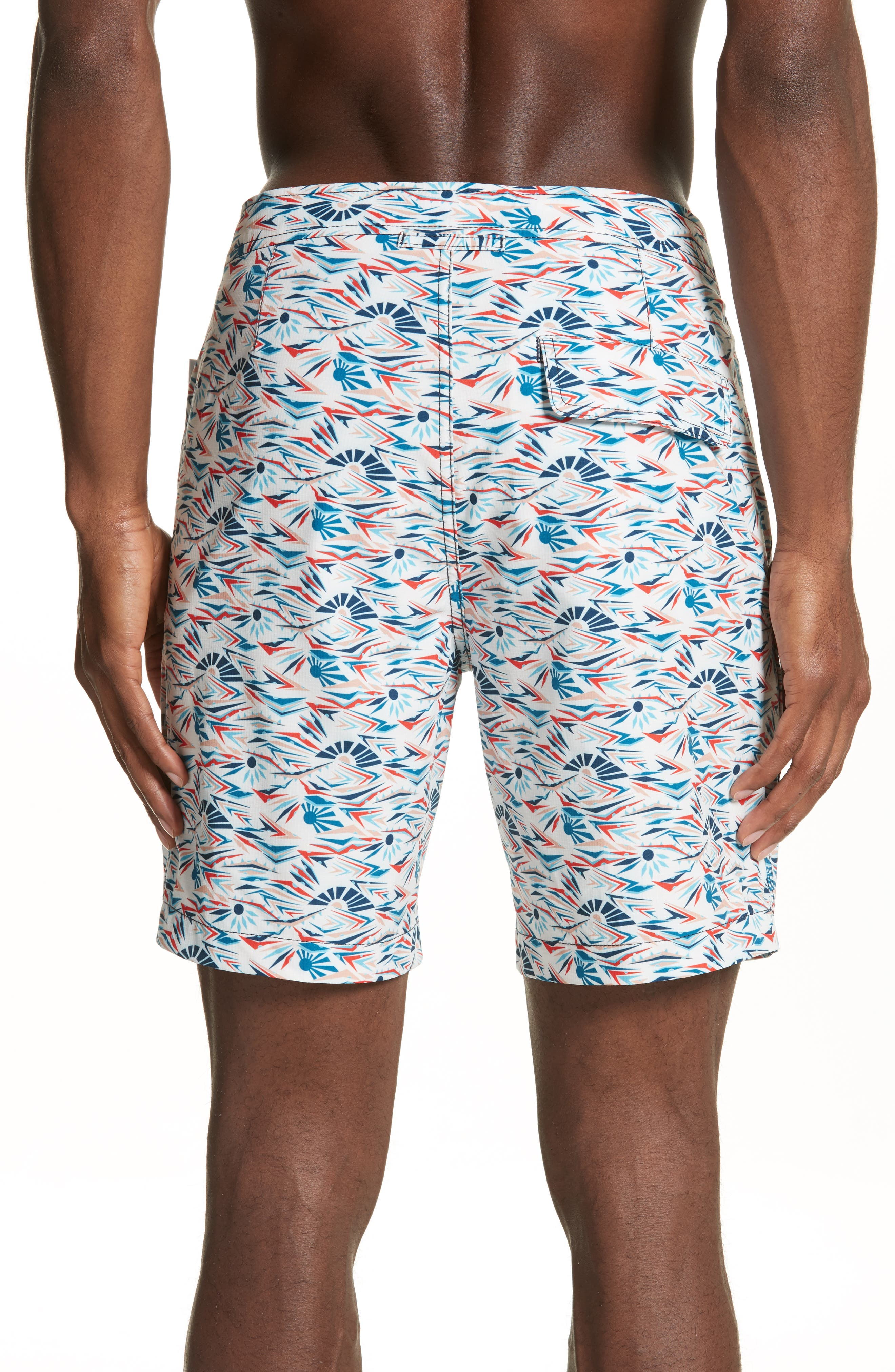 Calder Sunrise Print Swim Trunks,                             Alternate thumbnail 2, color,                             WHITE MULTI