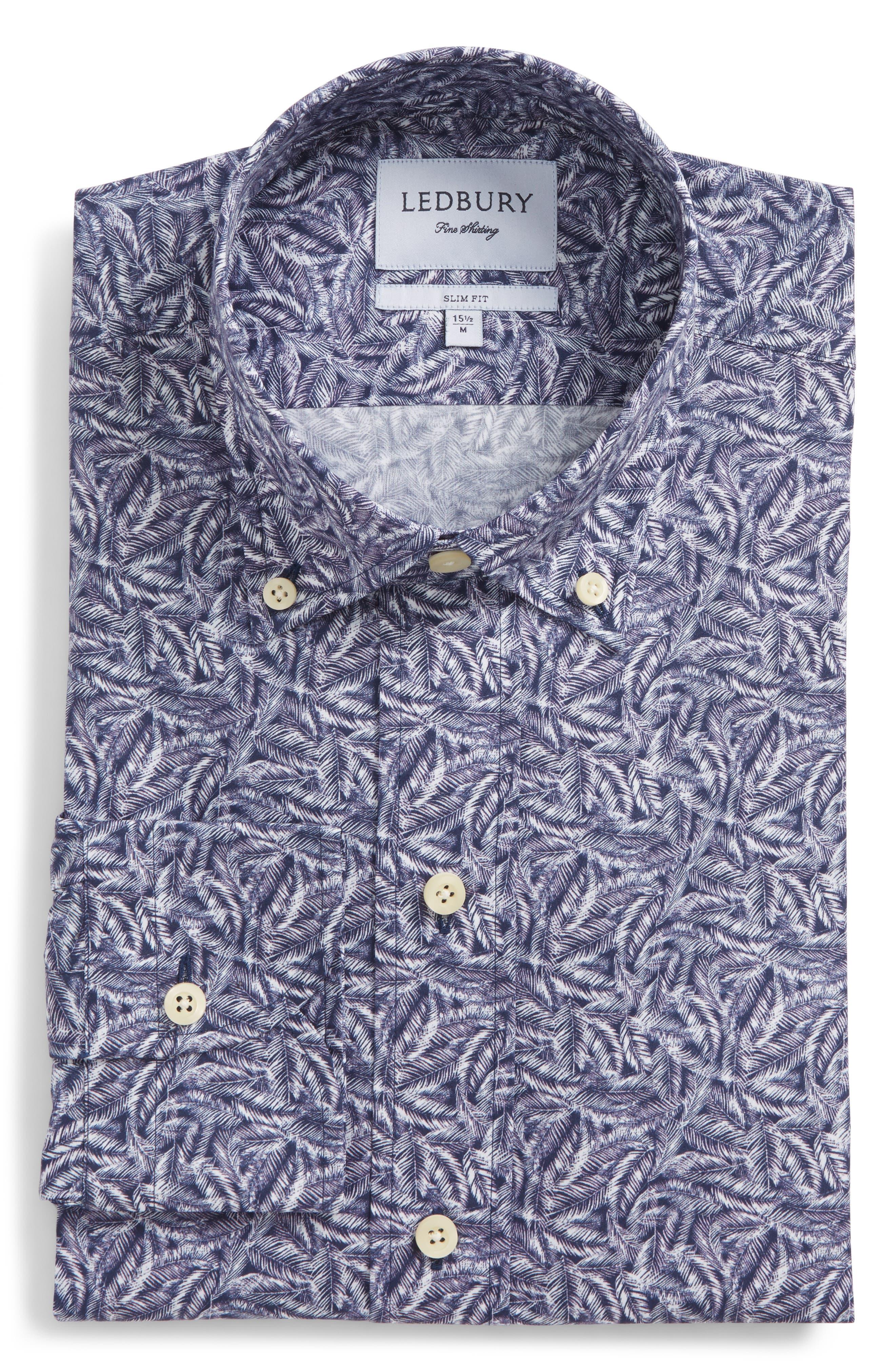 Garnaby Slim Fit Print Dress Shirt,                             Alternate thumbnail 5, color,                             400