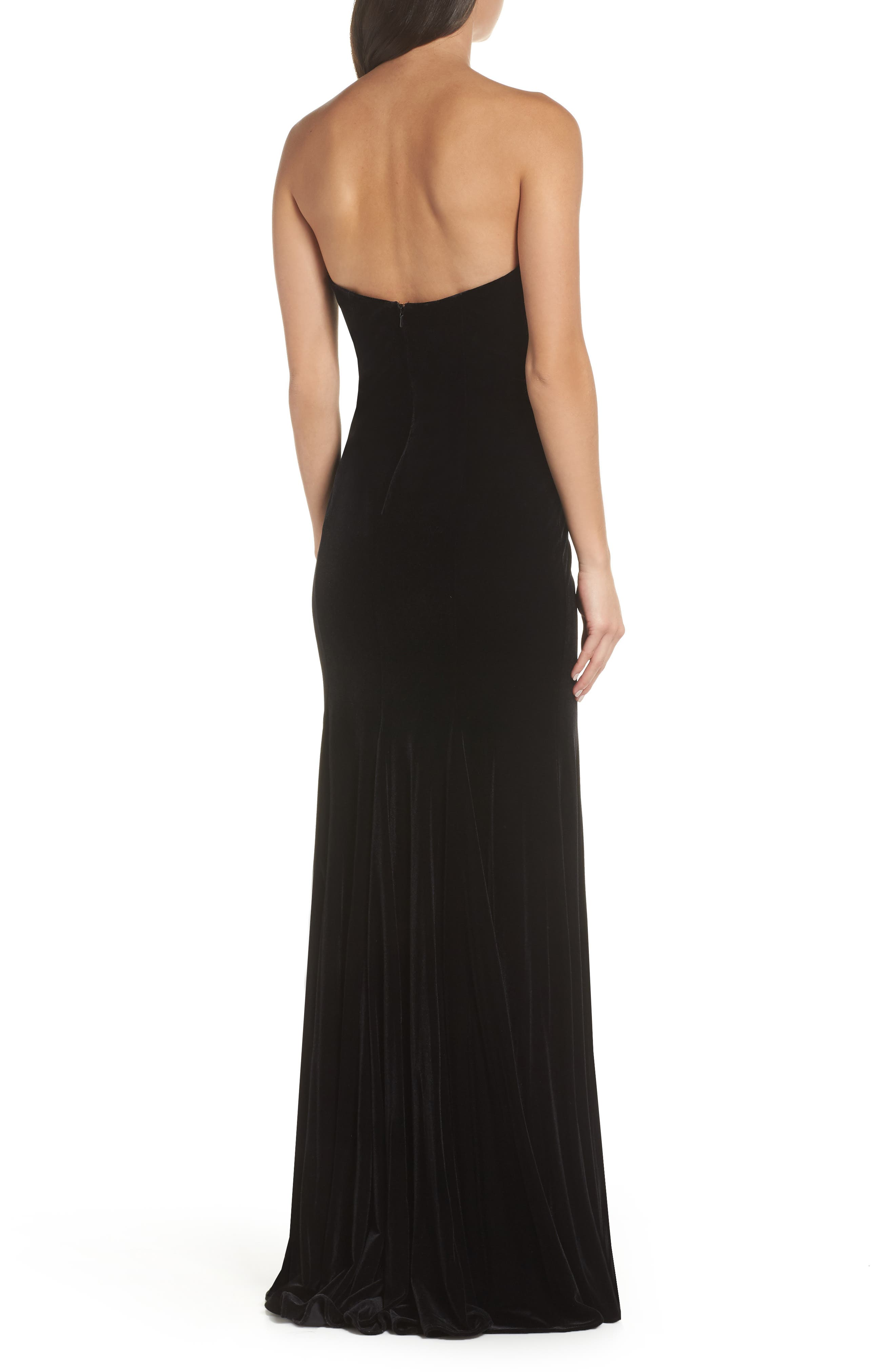 Strapless Velvet Gown,                             Alternate thumbnail 2, color,                             BLACK