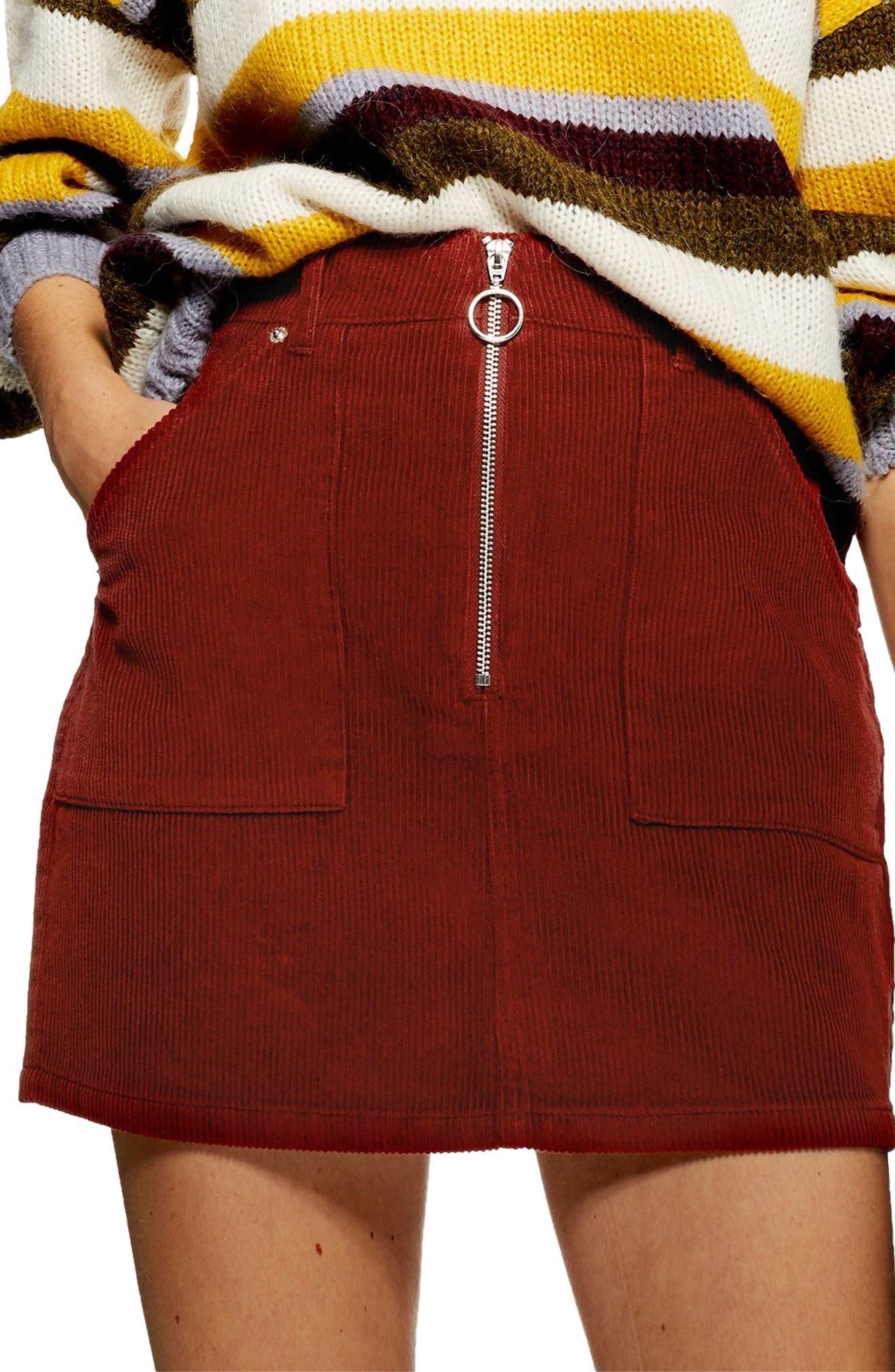 Front Zip Corduroy Miniskirt,                             Alternate thumbnail 3, color,                             RUST