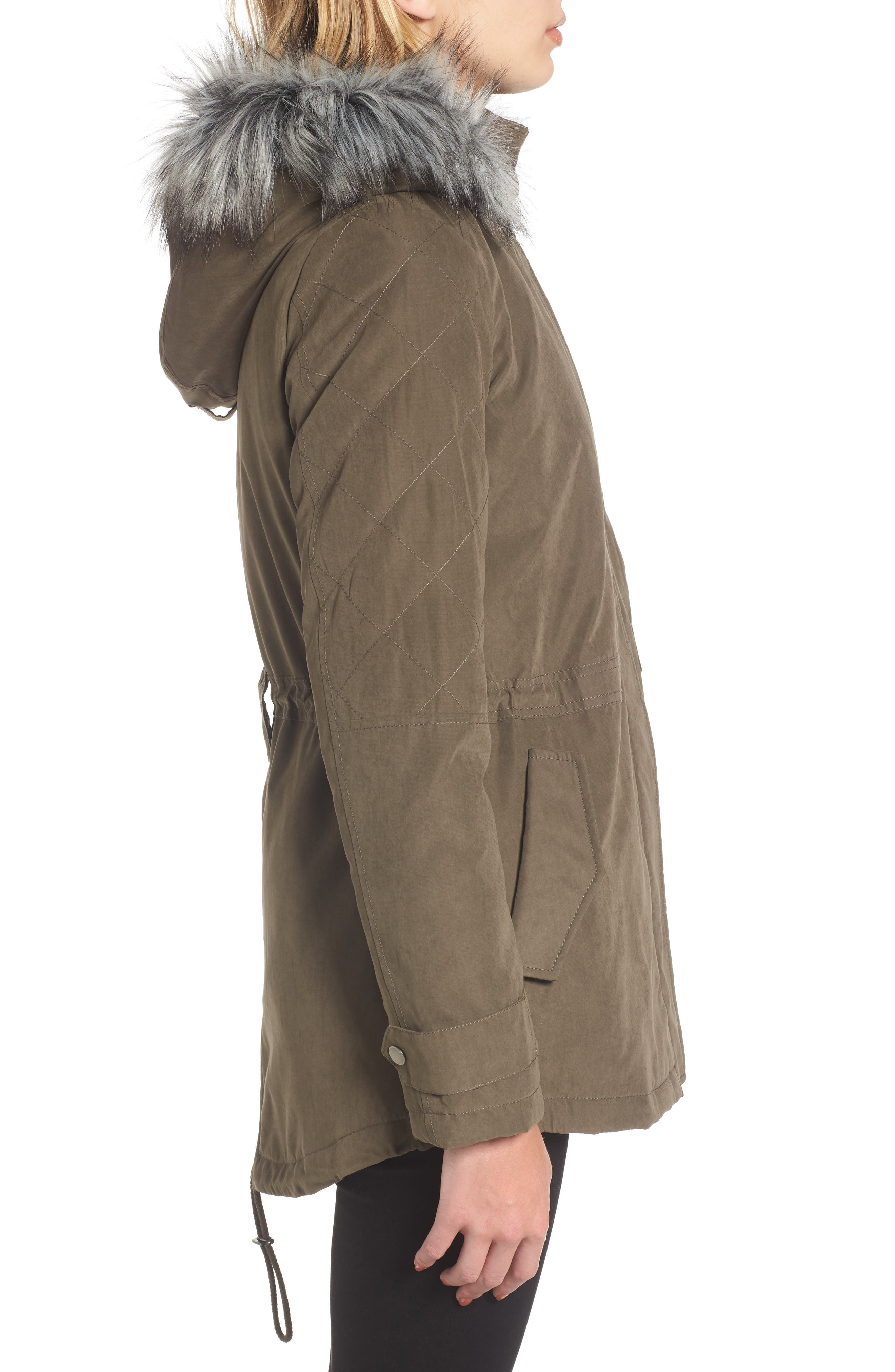 Quilted Sleeve Anorak with Faux Fur Trim,                             Alternate thumbnail 3, color,                             304
