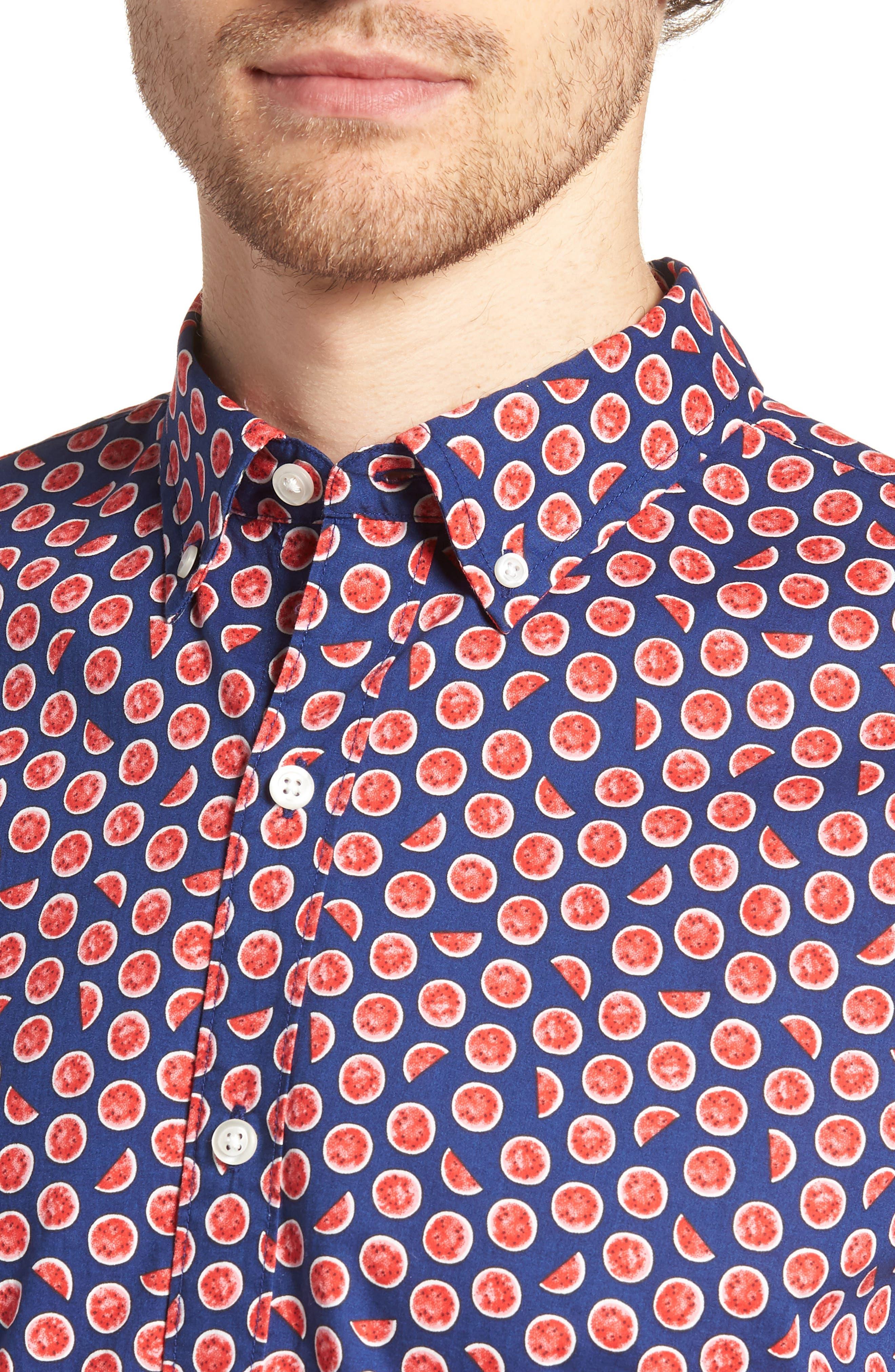 Riviera Slim Fit Watermelon Print Sport Shirt,                             Alternate thumbnail 4, color,                             WATERMELON - GOJI BERRY