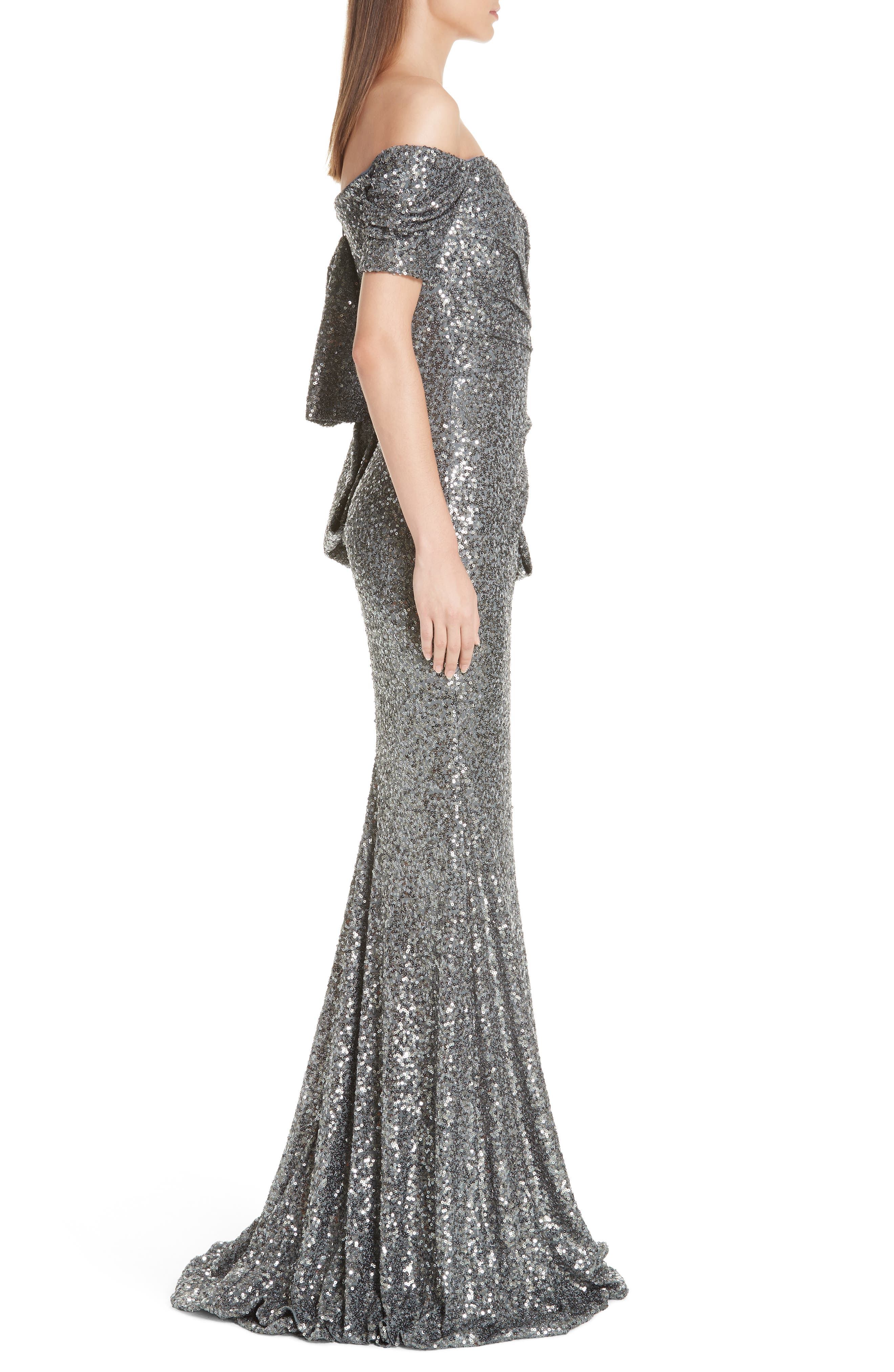 Bow Detail Sequin Off the Shoulder Gown,                             Alternate thumbnail 3, color,                             CHARCOAL