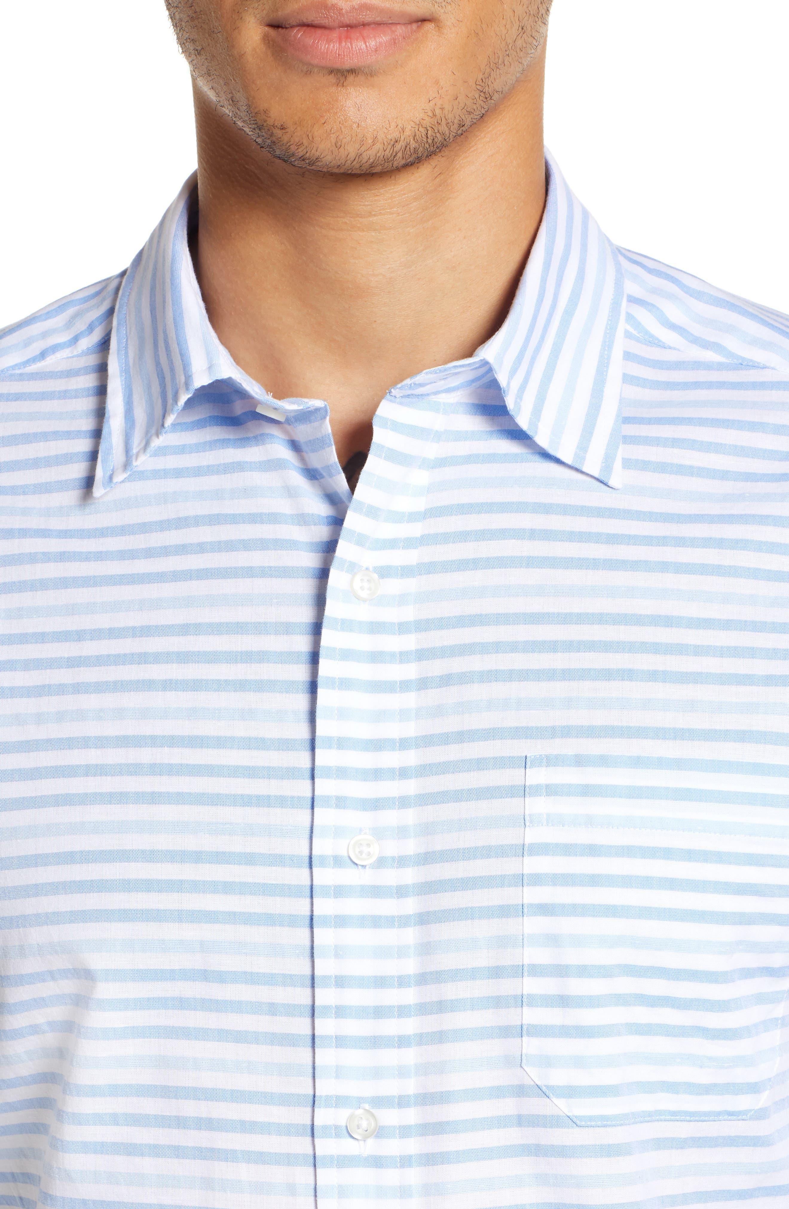 Ocean View Regular Fit Stripe Sport Shirt,                             Alternate thumbnail 2, color,                             MARINA