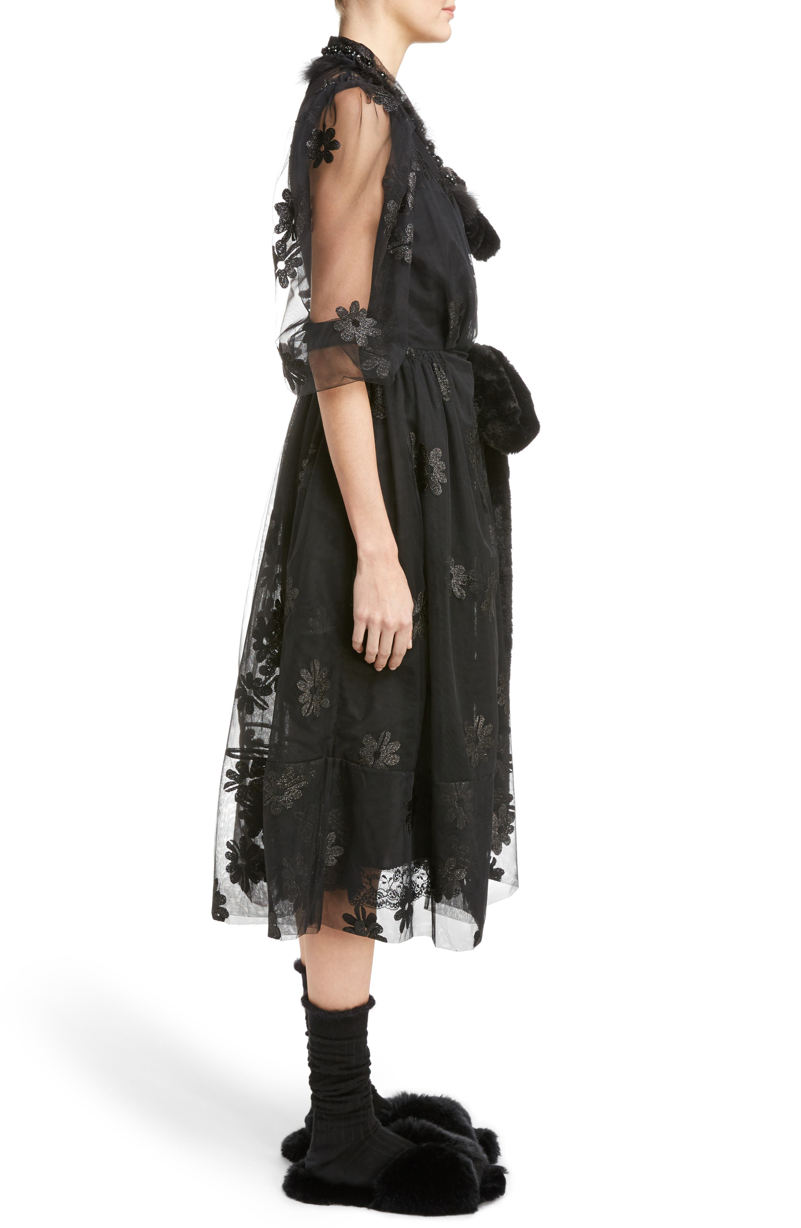 Teddy Floral Embroidered Tulle Dress with Feather and Faux Fur Trim,                             Alternate thumbnail 3, color,                             001