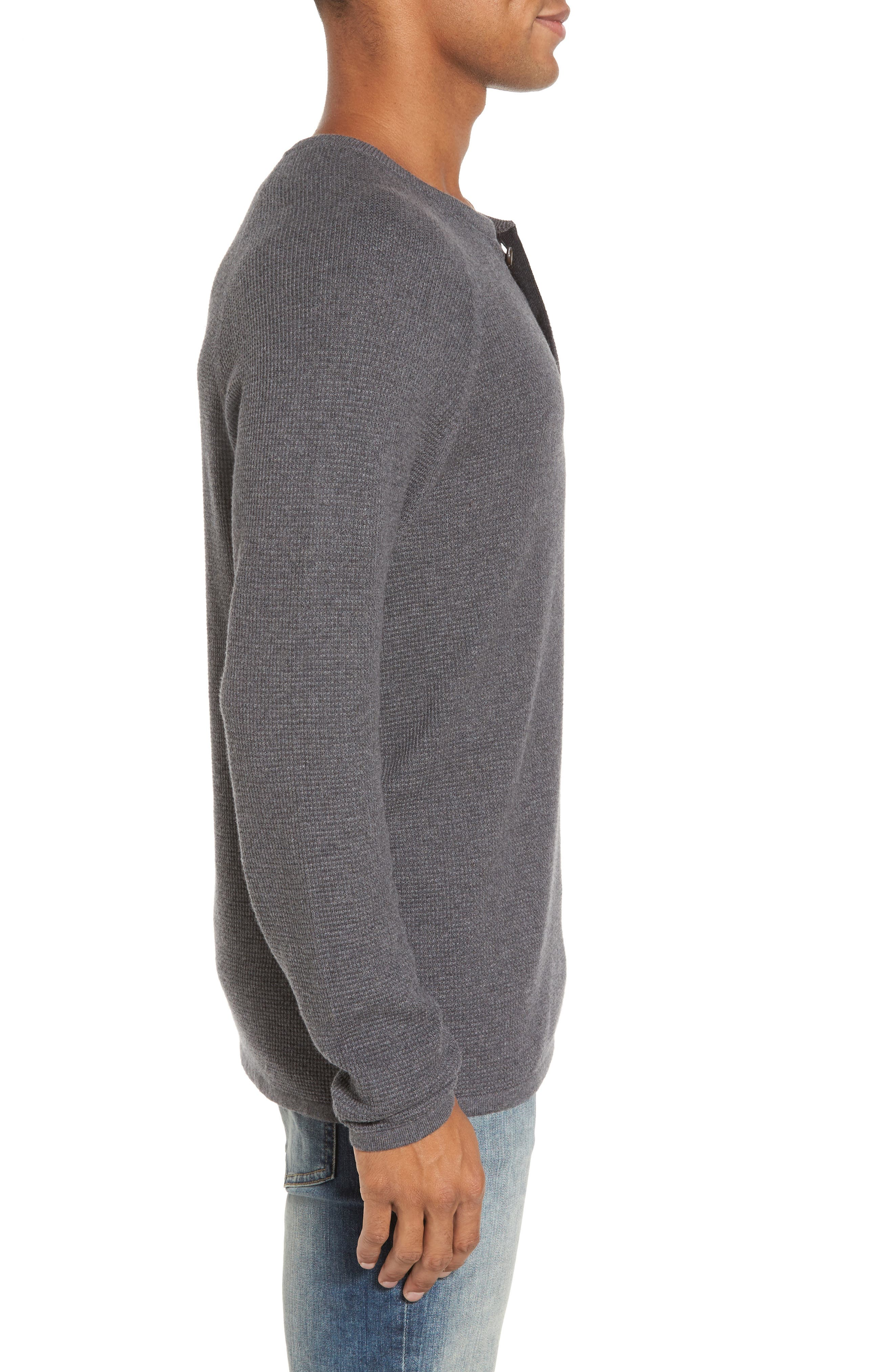 Waffle Knit Henley Sweater,                             Alternate thumbnail 3, color,                             033