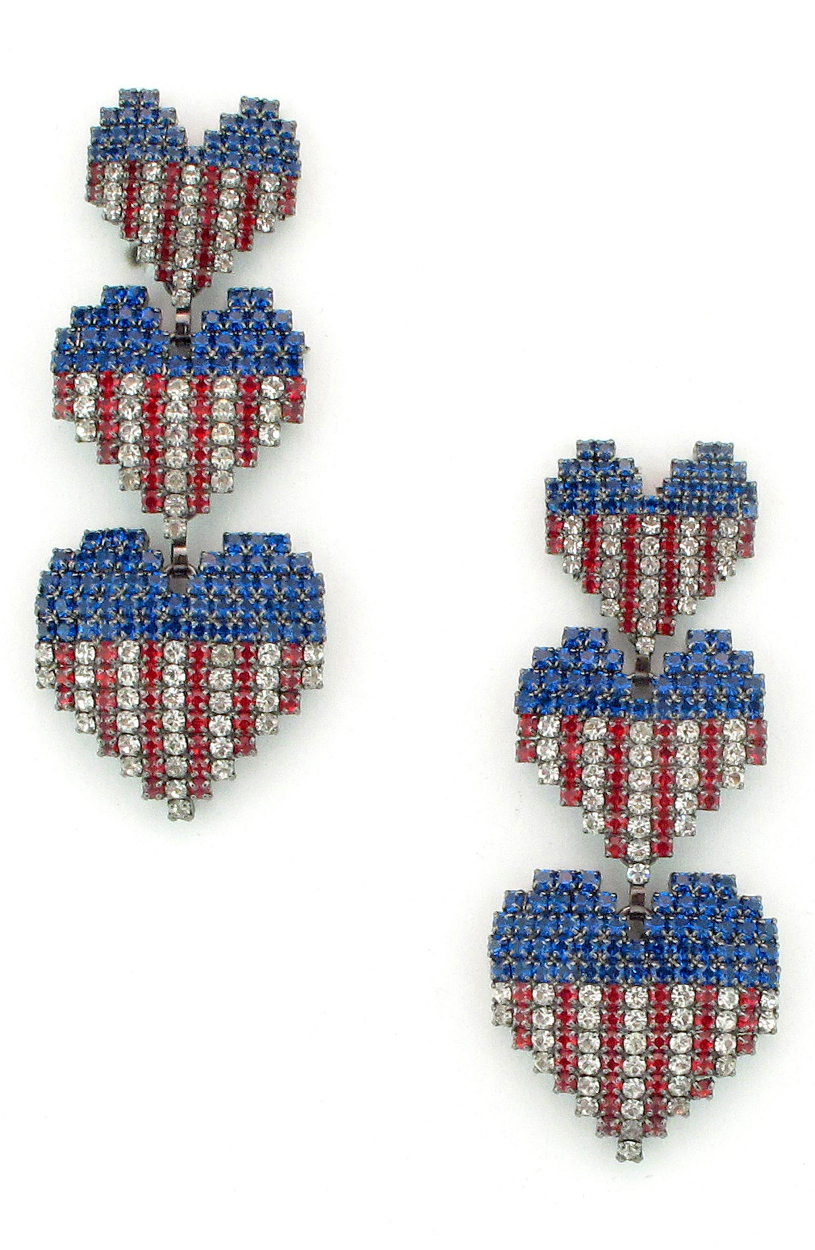 Patriotic Crystal Drop Earrings,                             Main thumbnail 1, color,                             PATRIOTIC