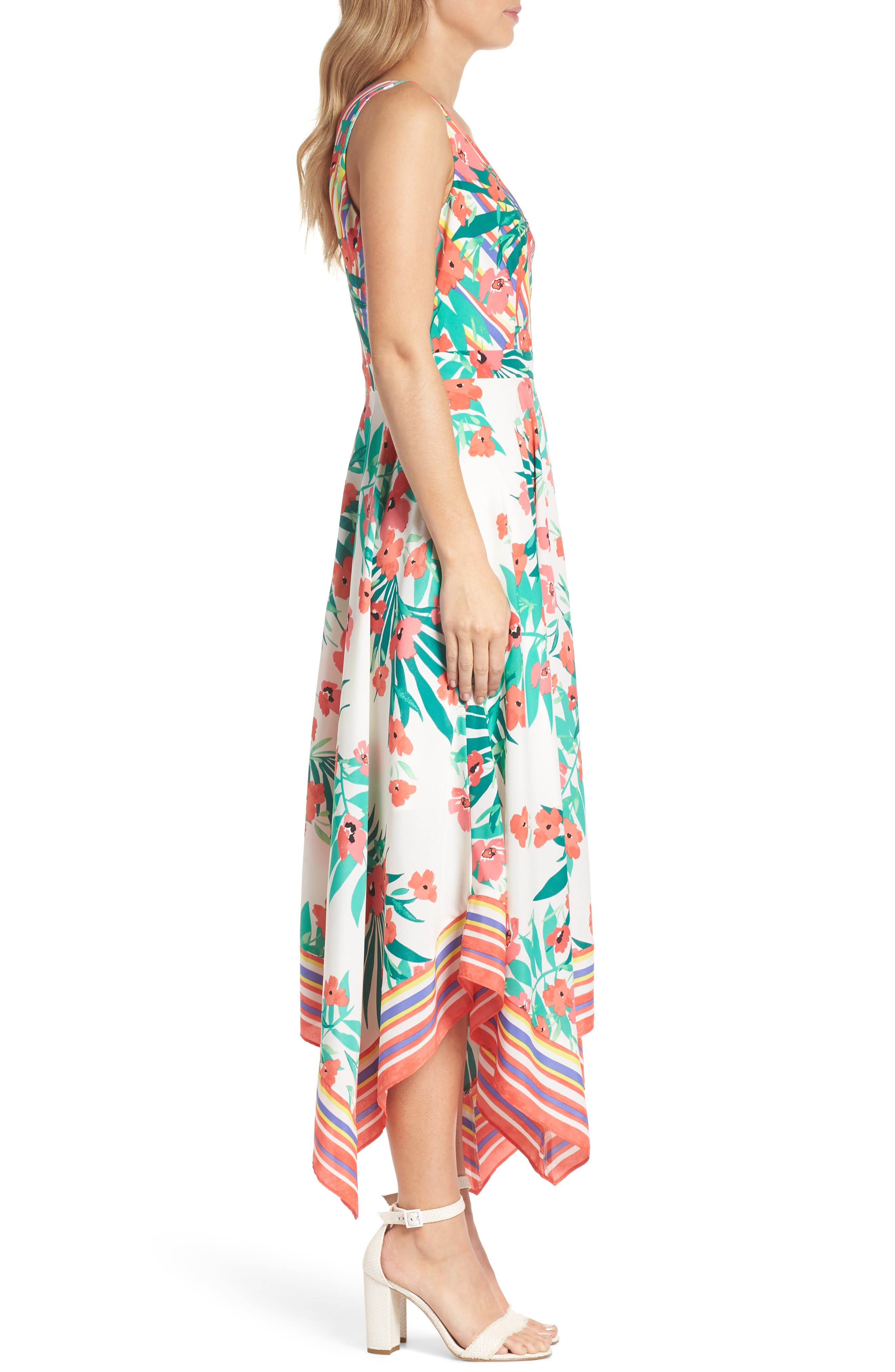 Print Handkerchief Hem Dress,                             Alternate thumbnail 3, color,                             901