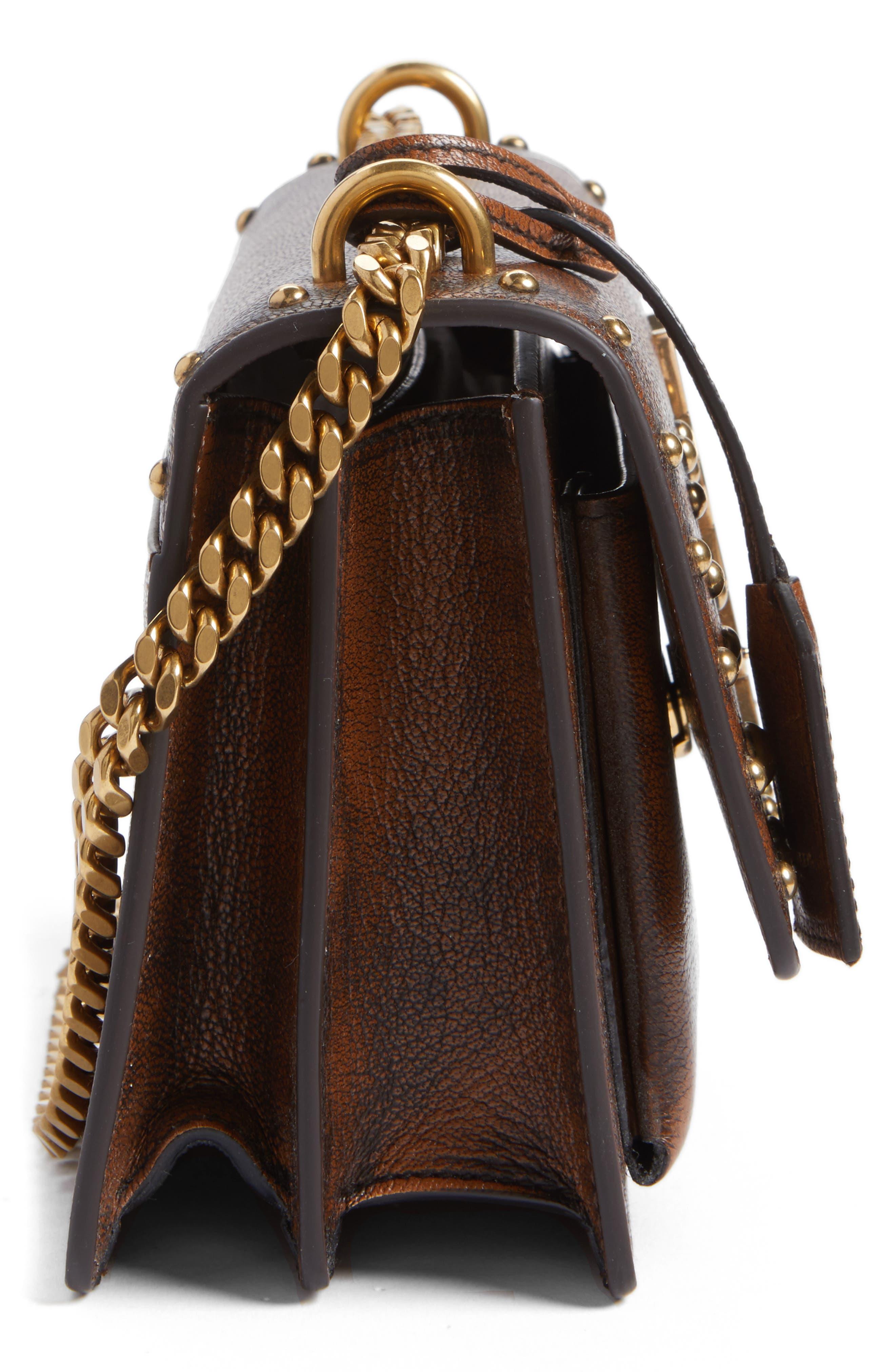 Small Sunset Studded Vintage Leather Shoulder Bag,                             Alternate thumbnail 5, color,                             979