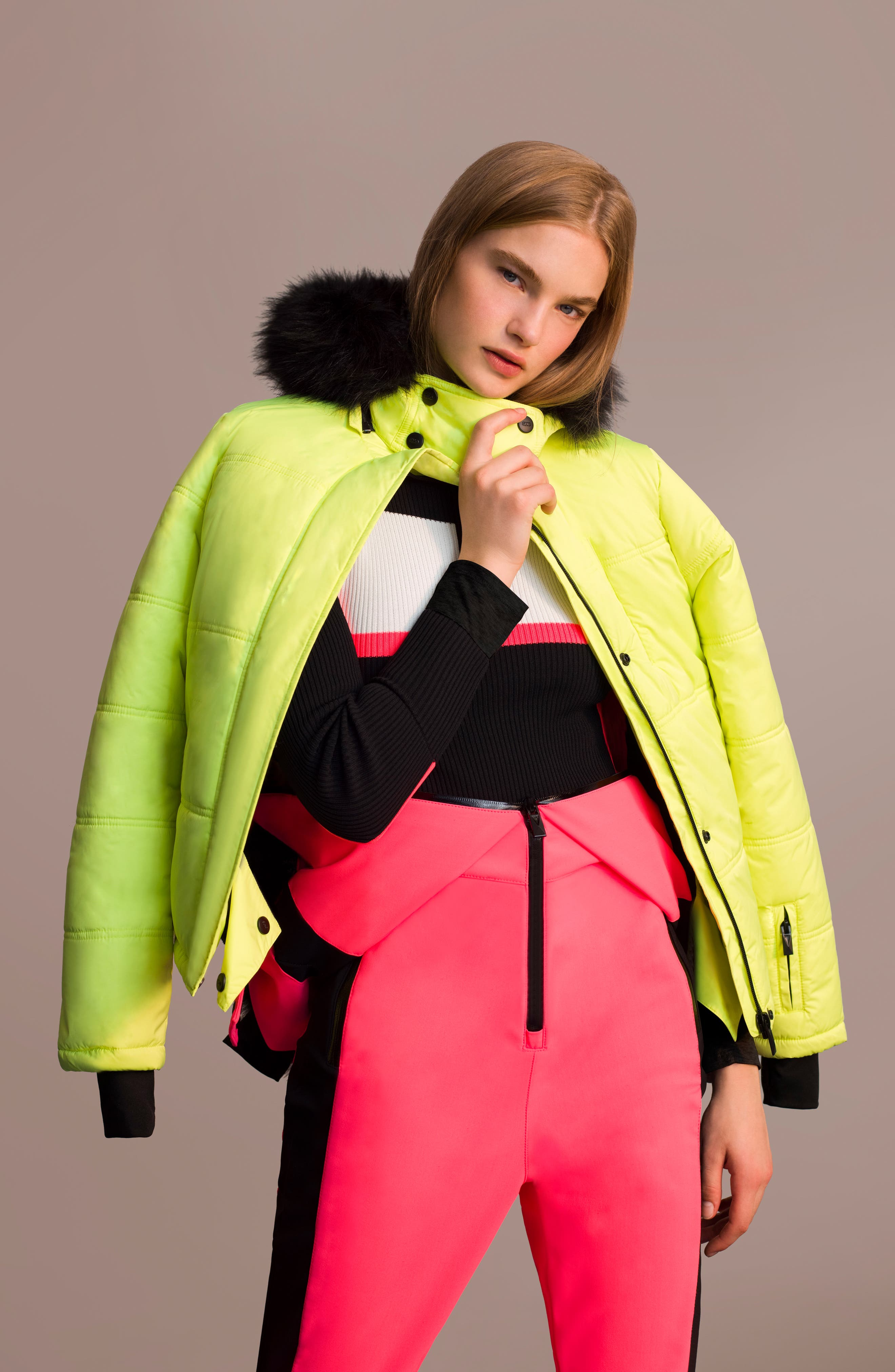 SNO Rio Faux Fur Hood Neon Puffer Jacket,                             Alternate thumbnail 14, color,