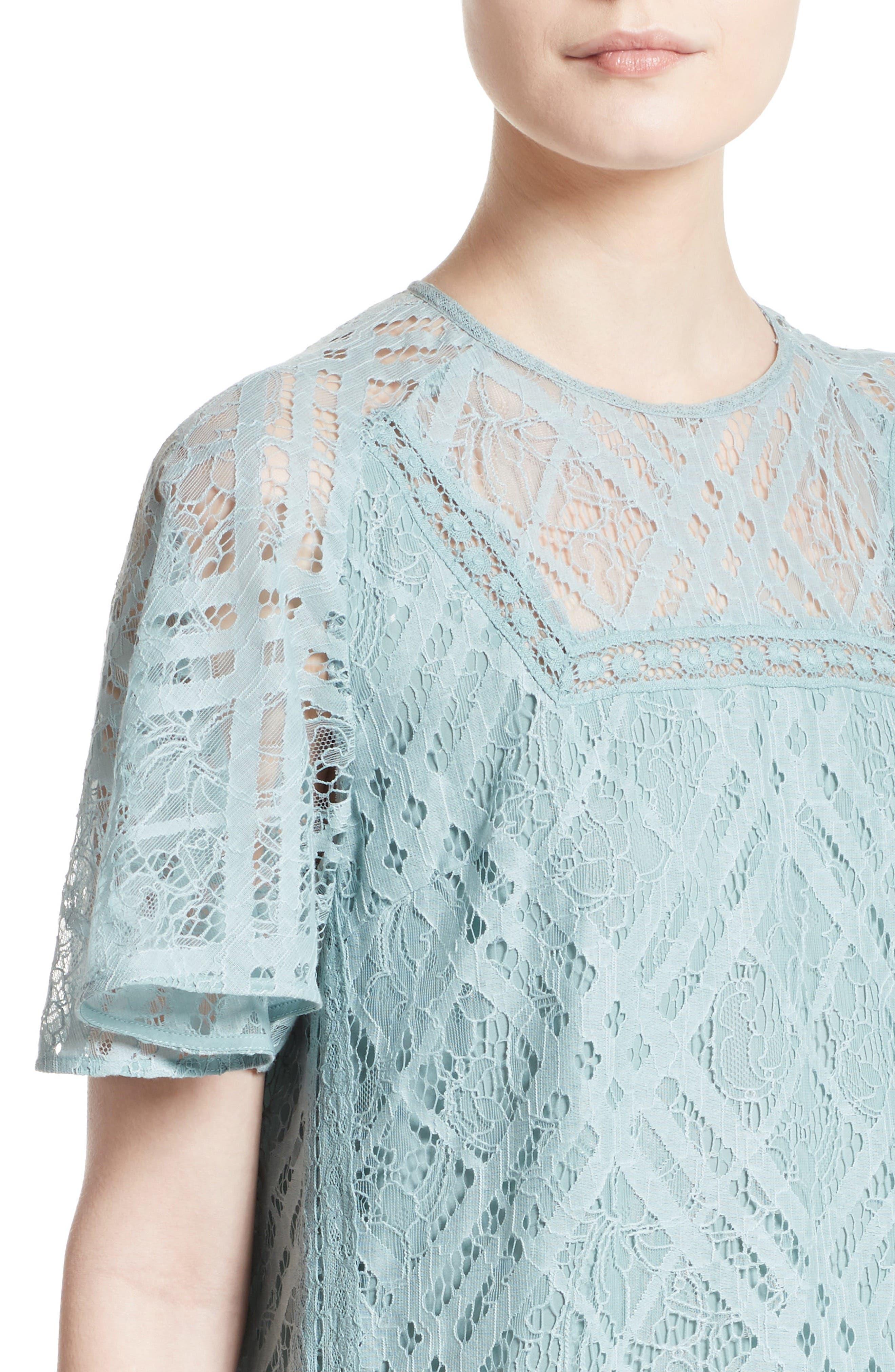 Keri Floral Check Lace Dress,                             Alternate thumbnail 4, color,                             450