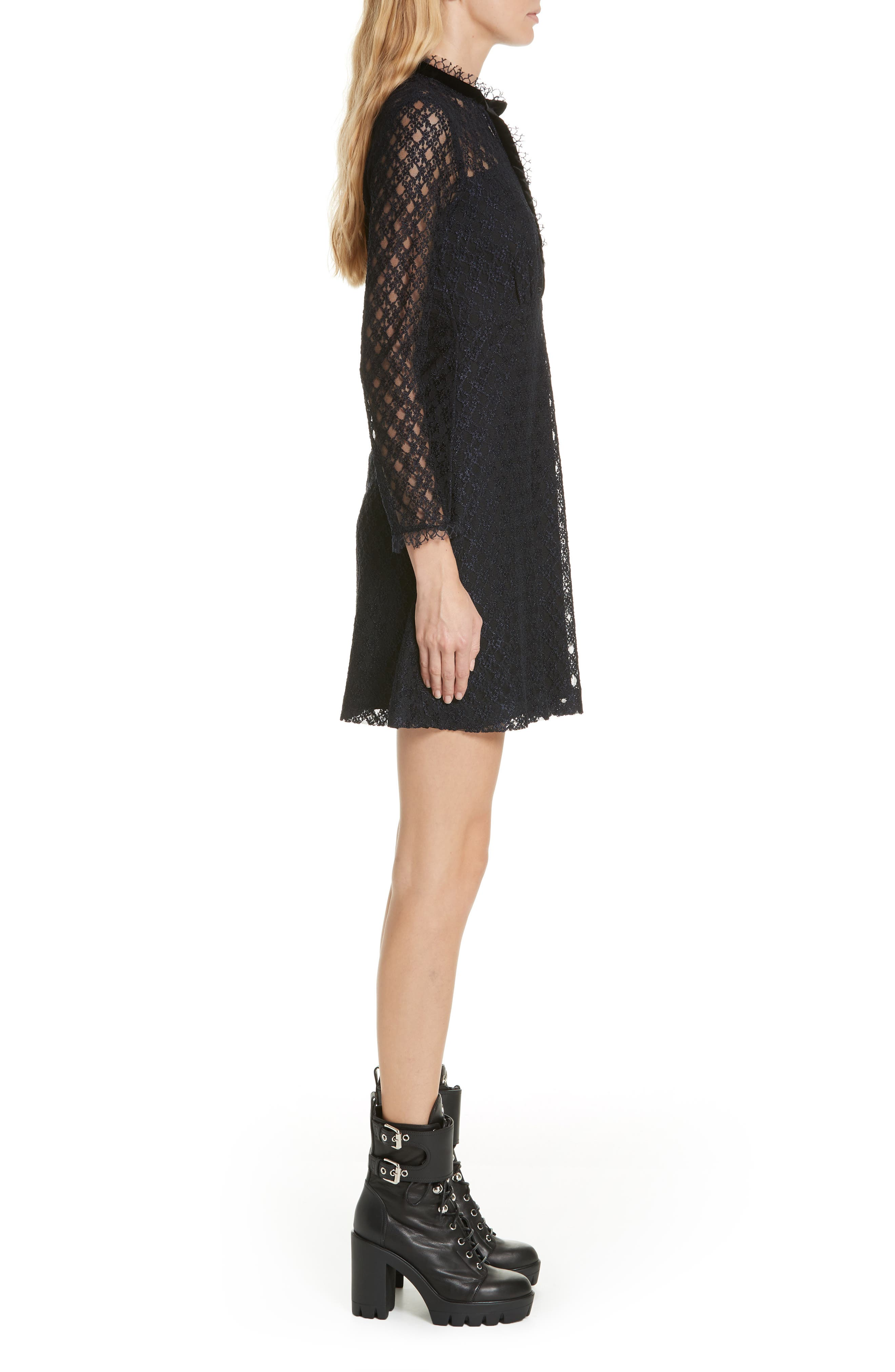 Lace Overlay Mini Dress,                             Alternate thumbnail 3, color,                             405