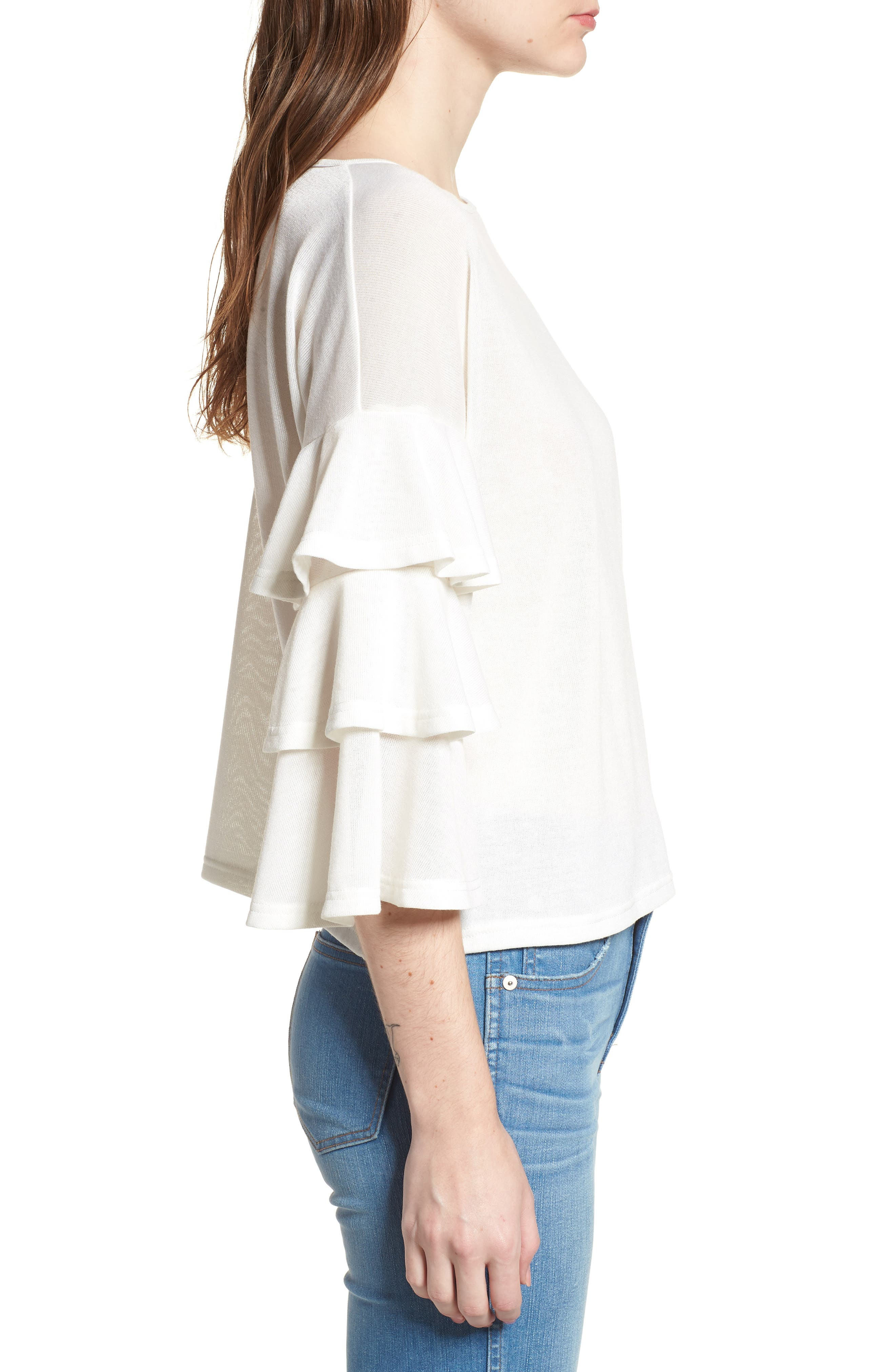 Bishop + Young Katie Tiered Ruffle Sleeve Top,                             Alternate thumbnail 3, color,                             WHITE
