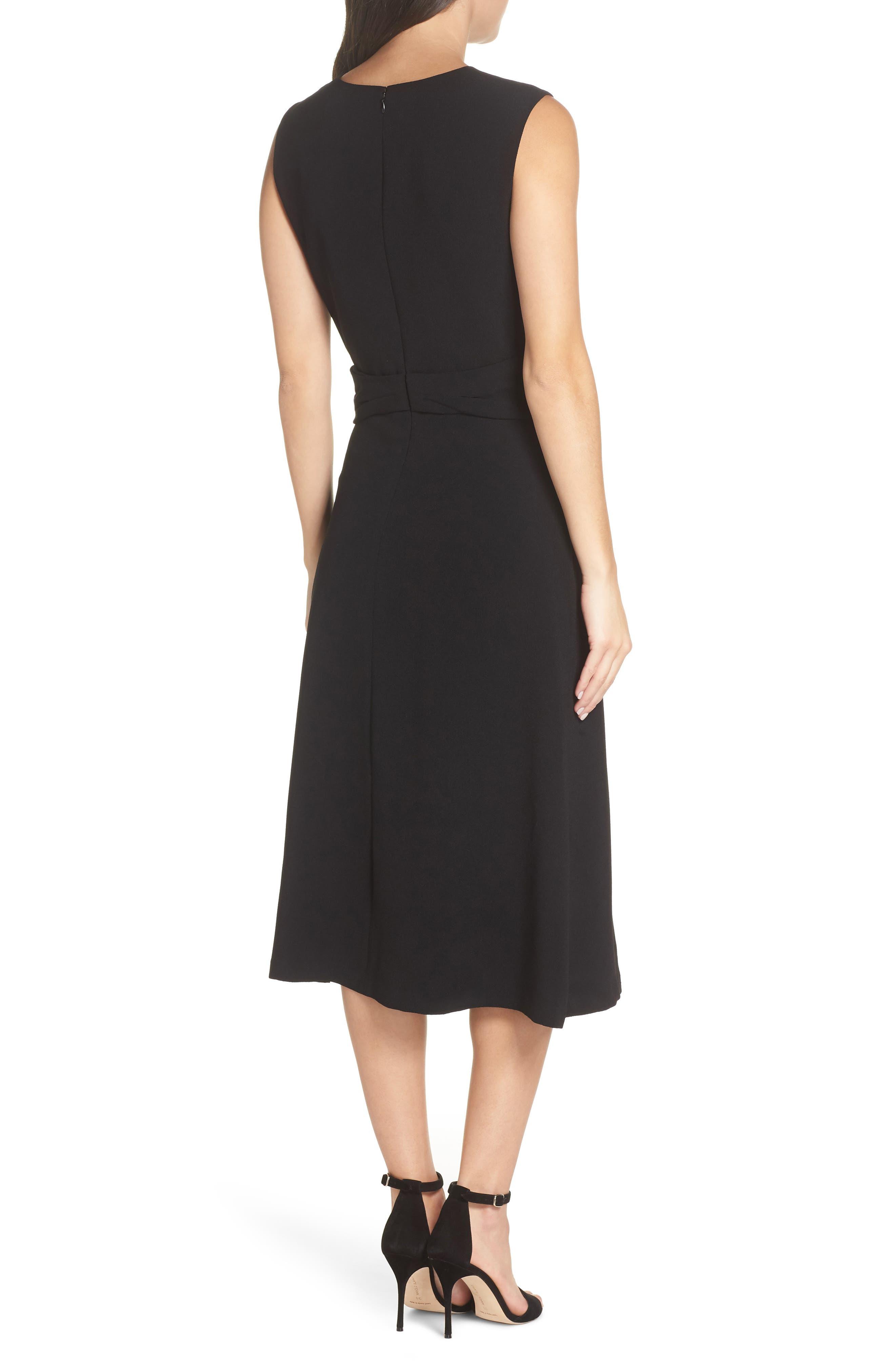 Sleeveless Cross Front Midi Dress,                             Alternate thumbnail 2, color,                             BLACK