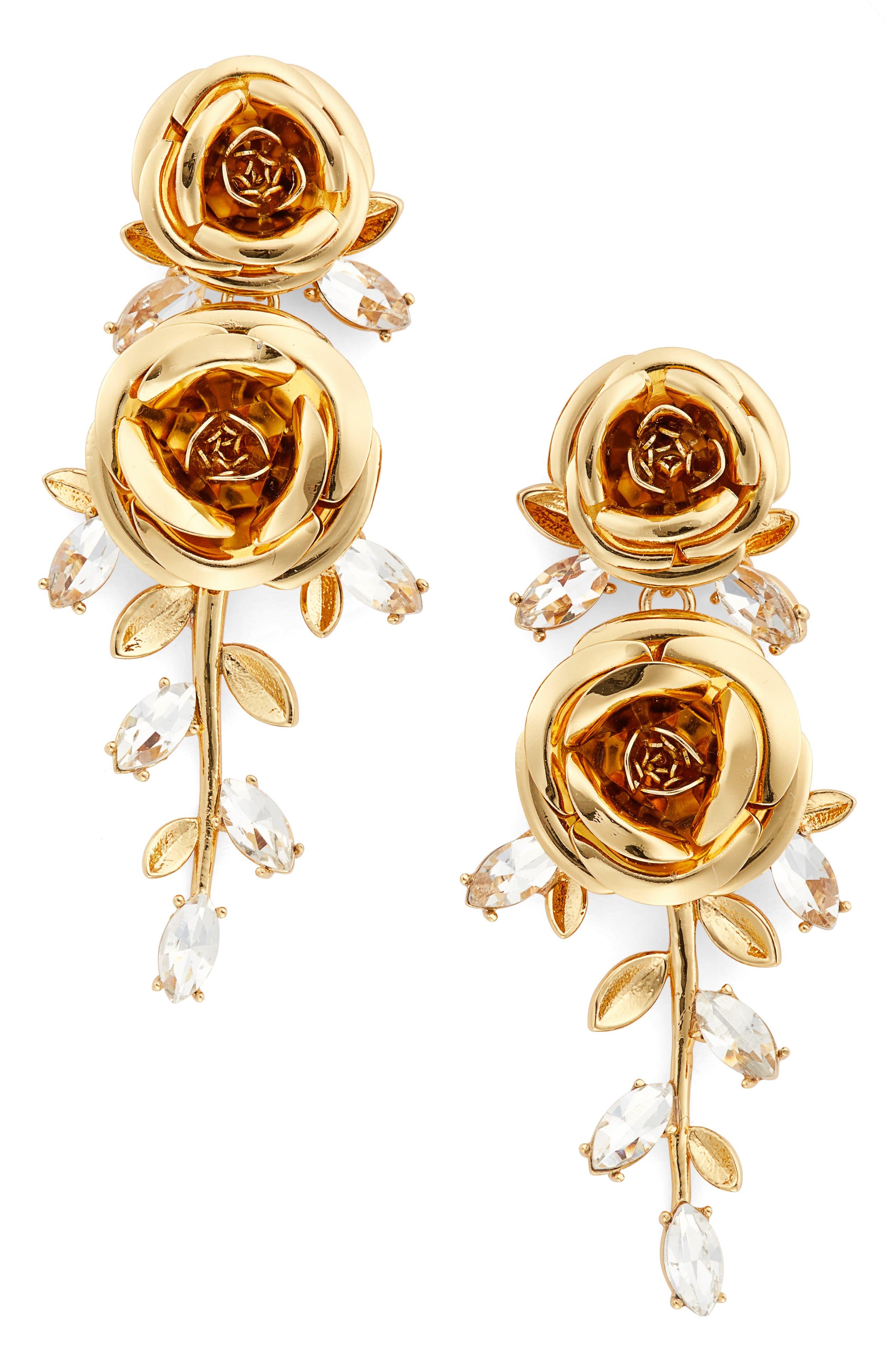 garden garland statement drop earrings, Main, color, 710