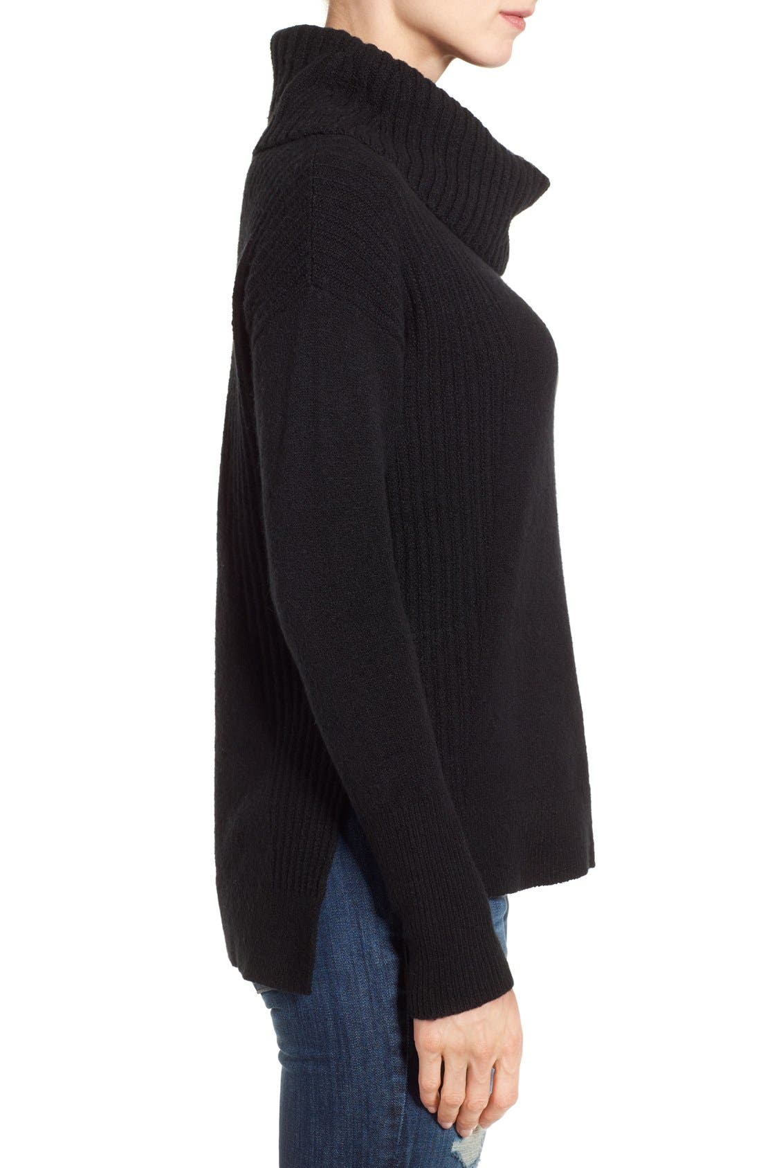 Cozy Rib Detail Relaxed Turtleneck,                             Alternate thumbnail 5, color,                             BLACK