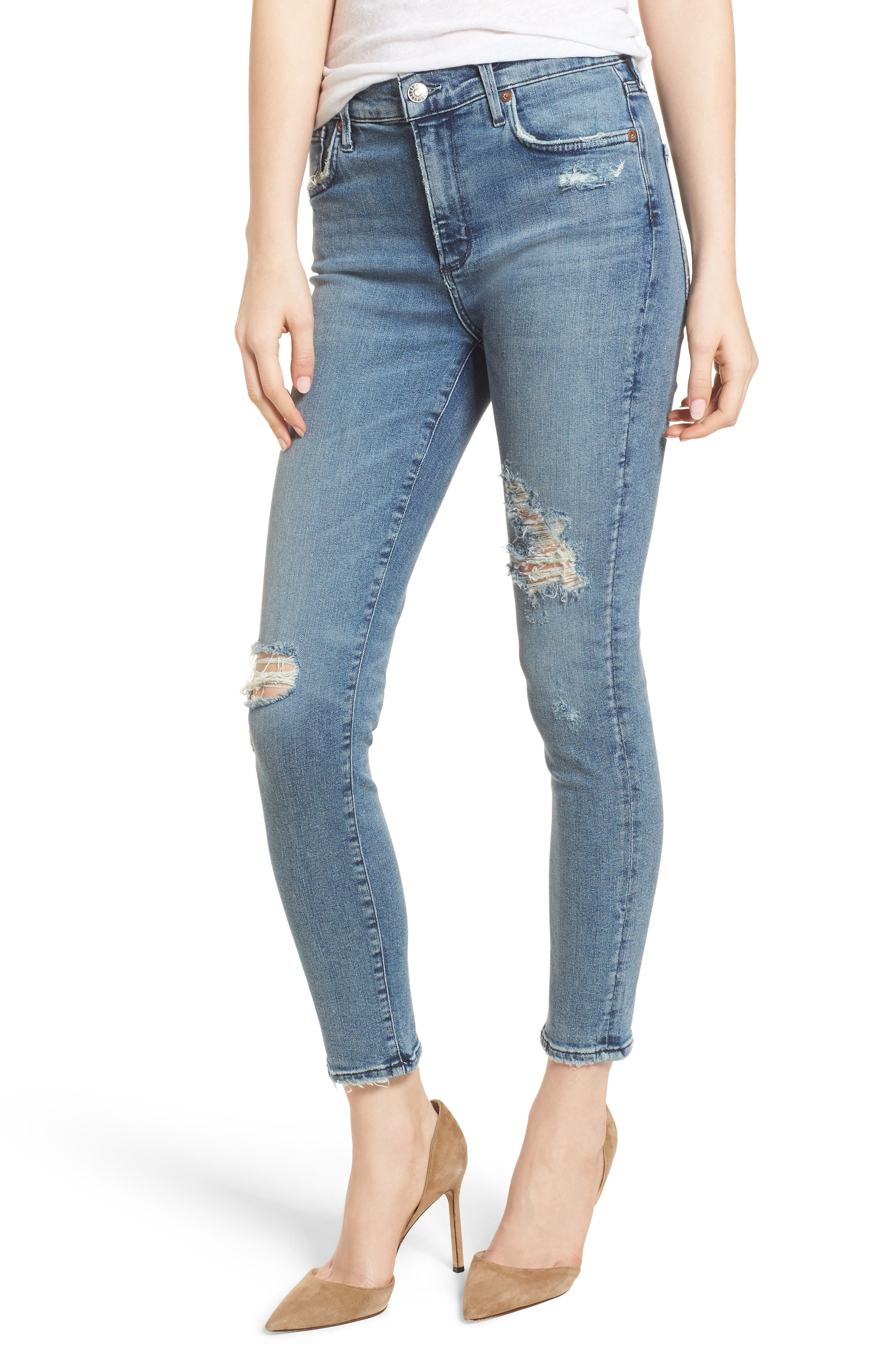 Sophie Ripped High Waist Crop Skinny Jeans,                         Main,                         color, 430