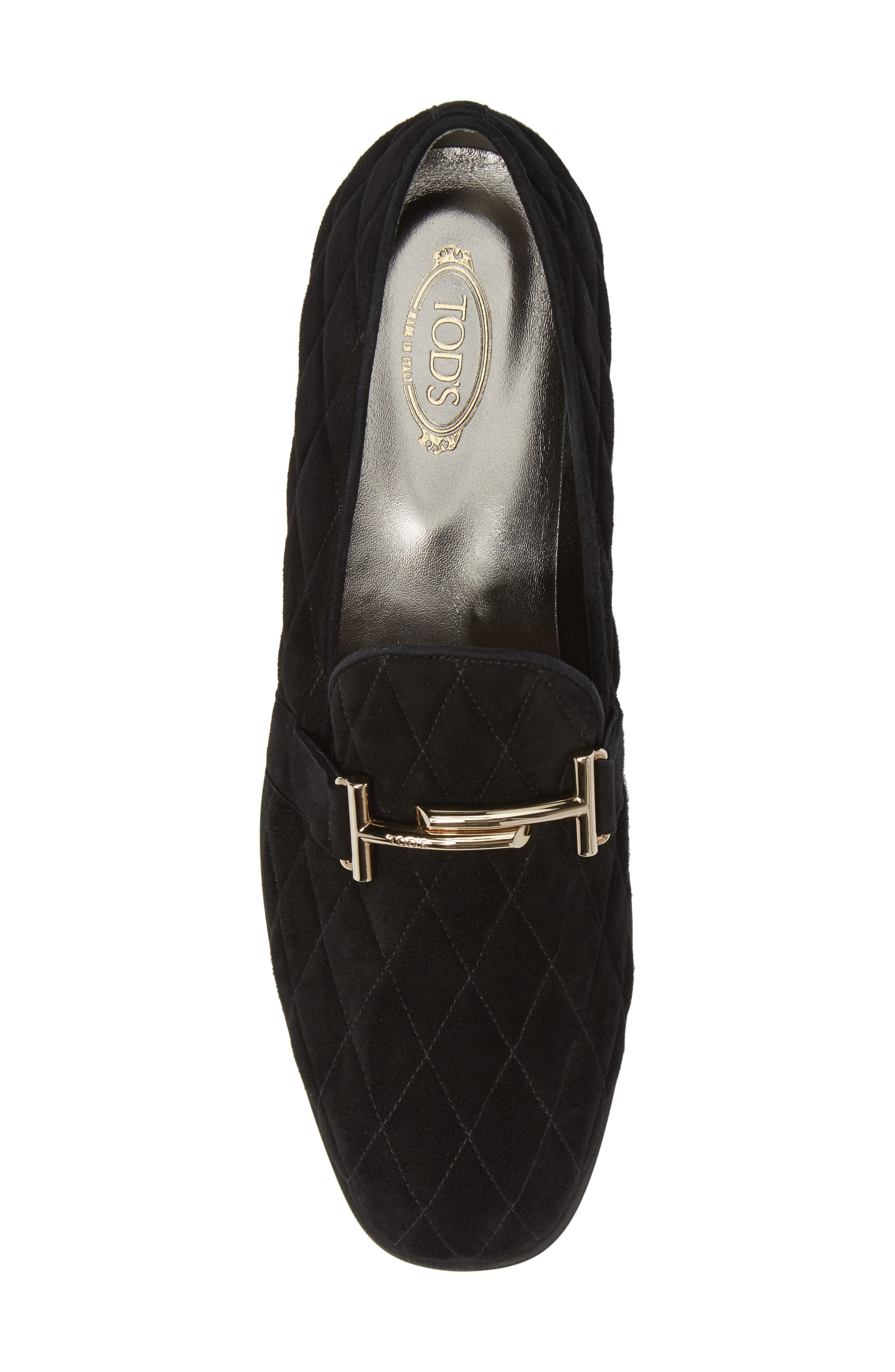 Quilted Double T Loafer,                             Alternate thumbnail 5, color,                             001