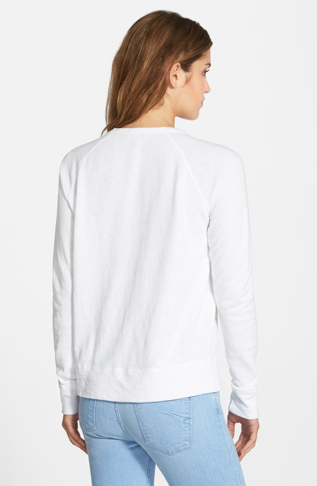 JAMES PERSE,                             Classic Raglan Sweatshirt,                             Alternate thumbnail 8, color,                             100