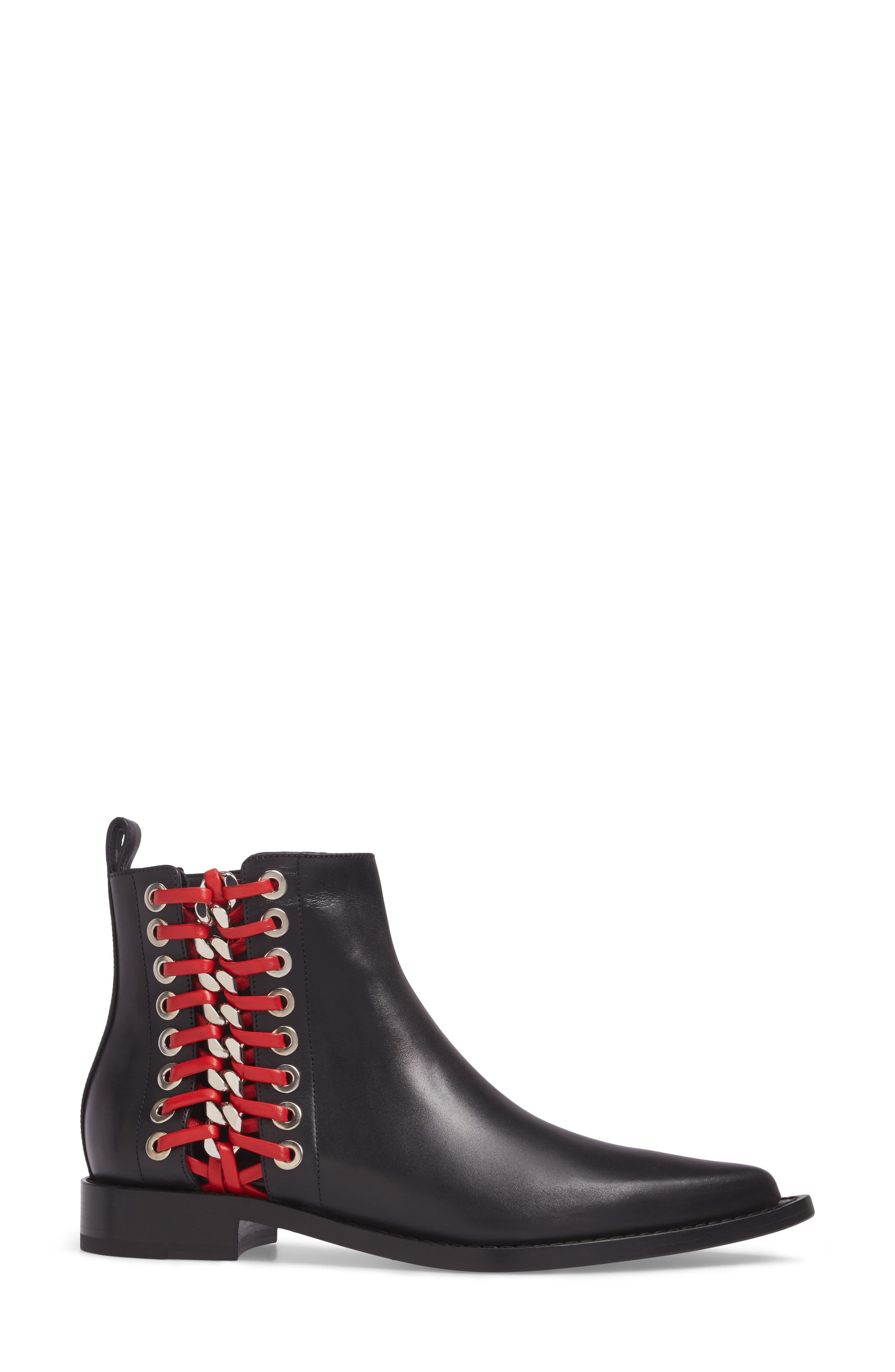 Laced Chain Pointy Toe Boot,                             Alternate thumbnail 3, color,                             007