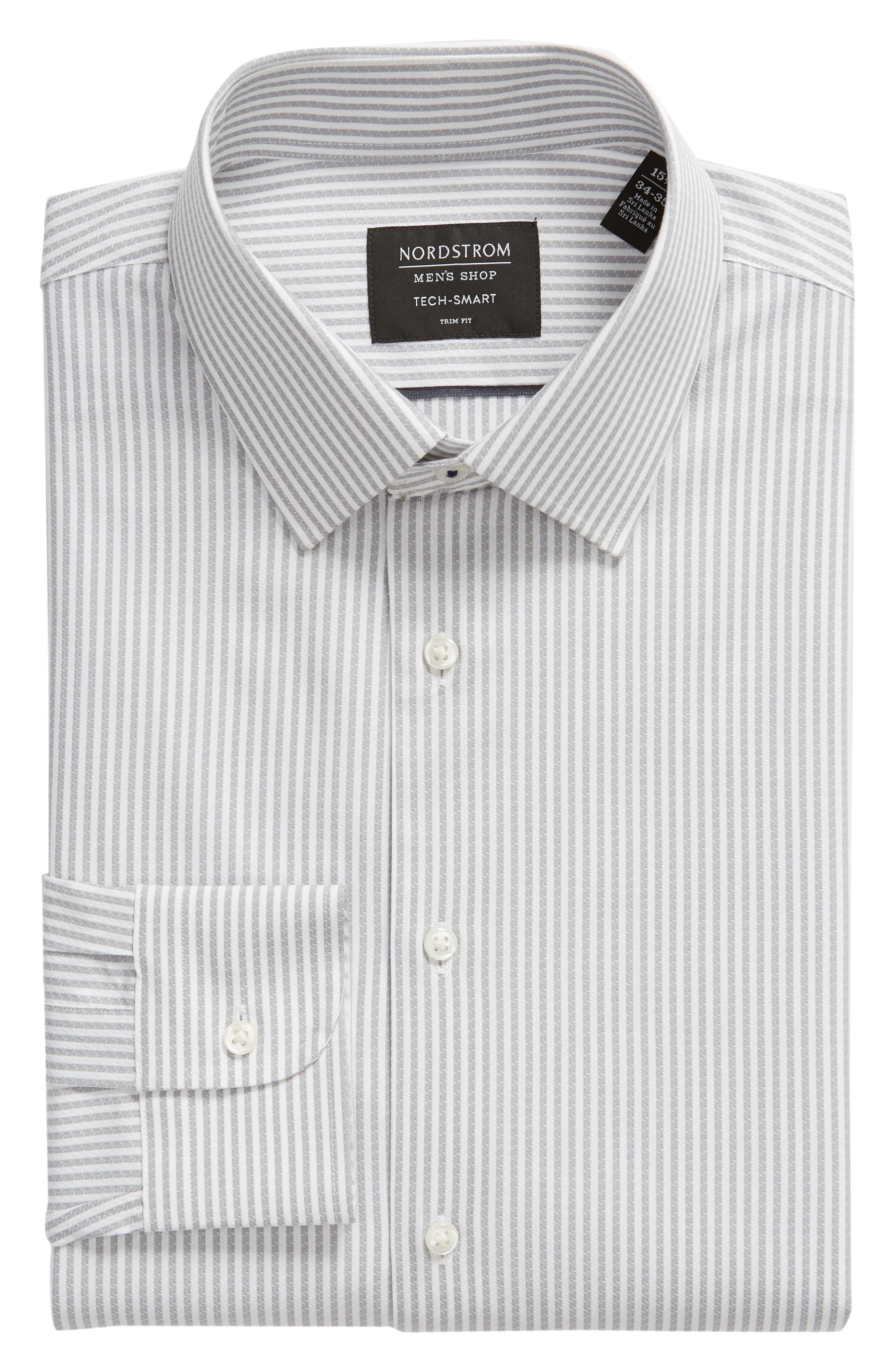 Tech-Smart Trim Fit Stripe Stretch Dress Shirt,                             Alternate thumbnail 5, color,                             050