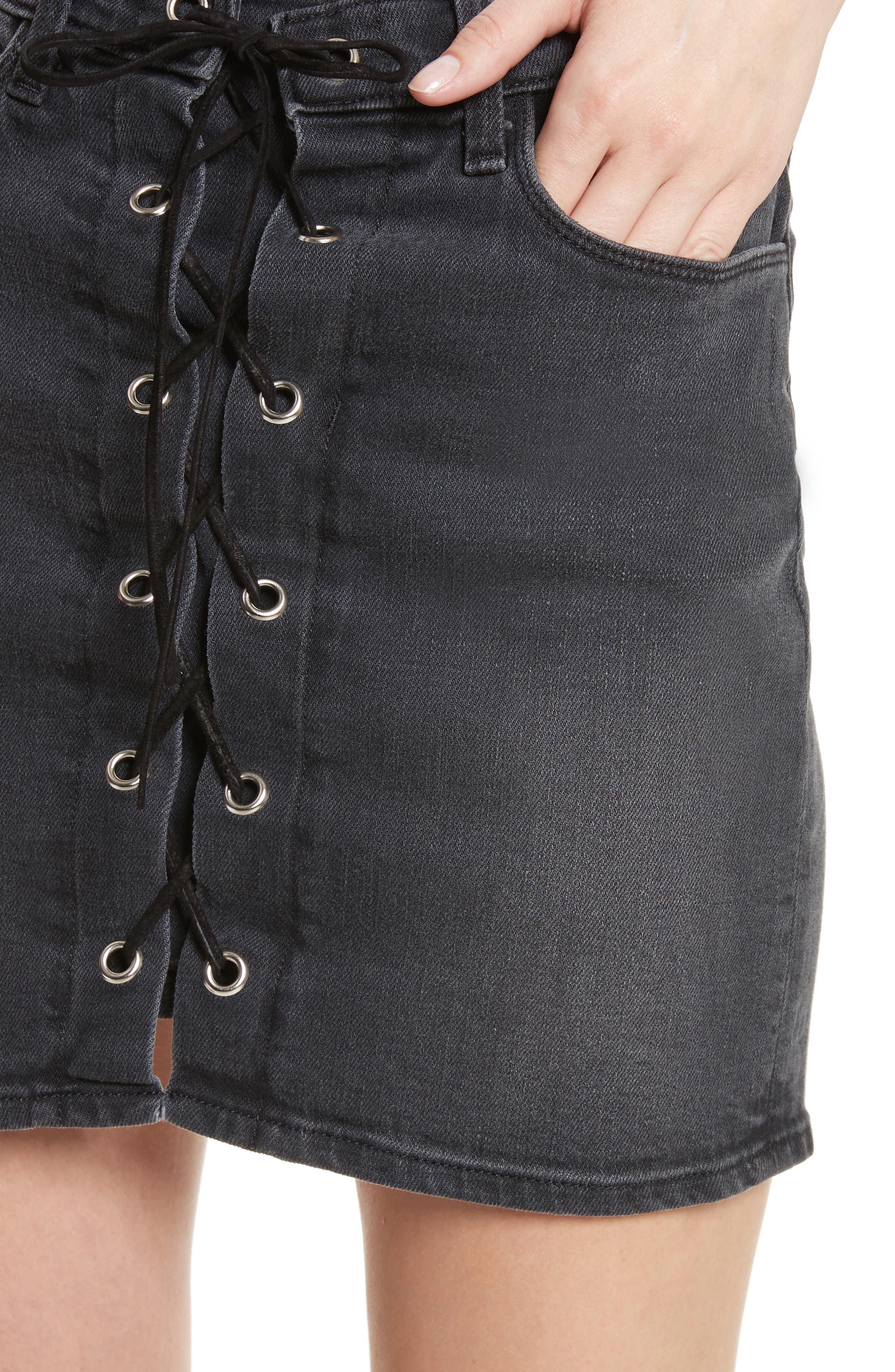 Portia Lace Up Denim Skirt,                             Alternate thumbnail 4, color,                             006