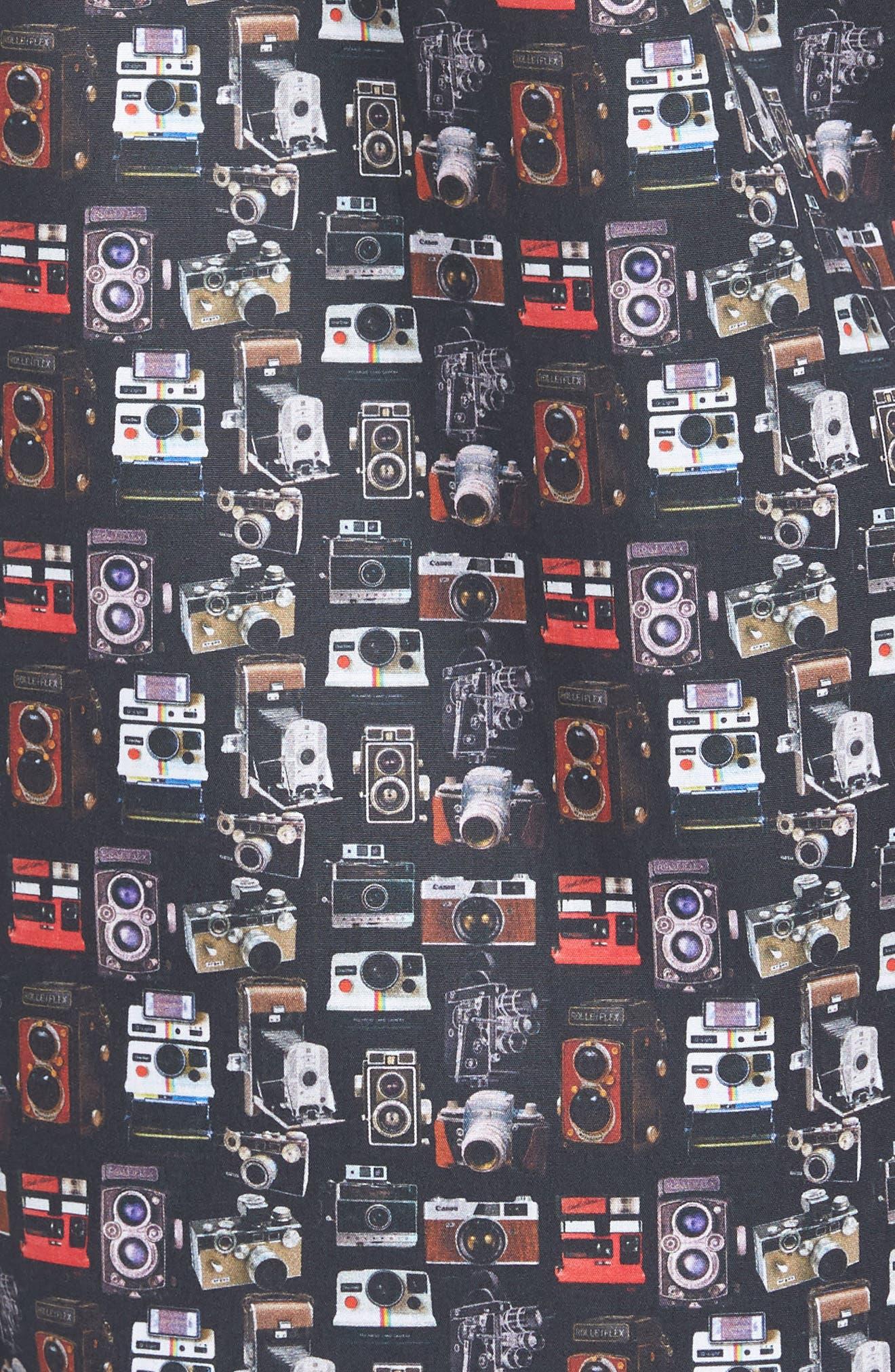 Camera Print Long Sleeve Sport Shirt,                             Alternate thumbnail 5, color,                             001