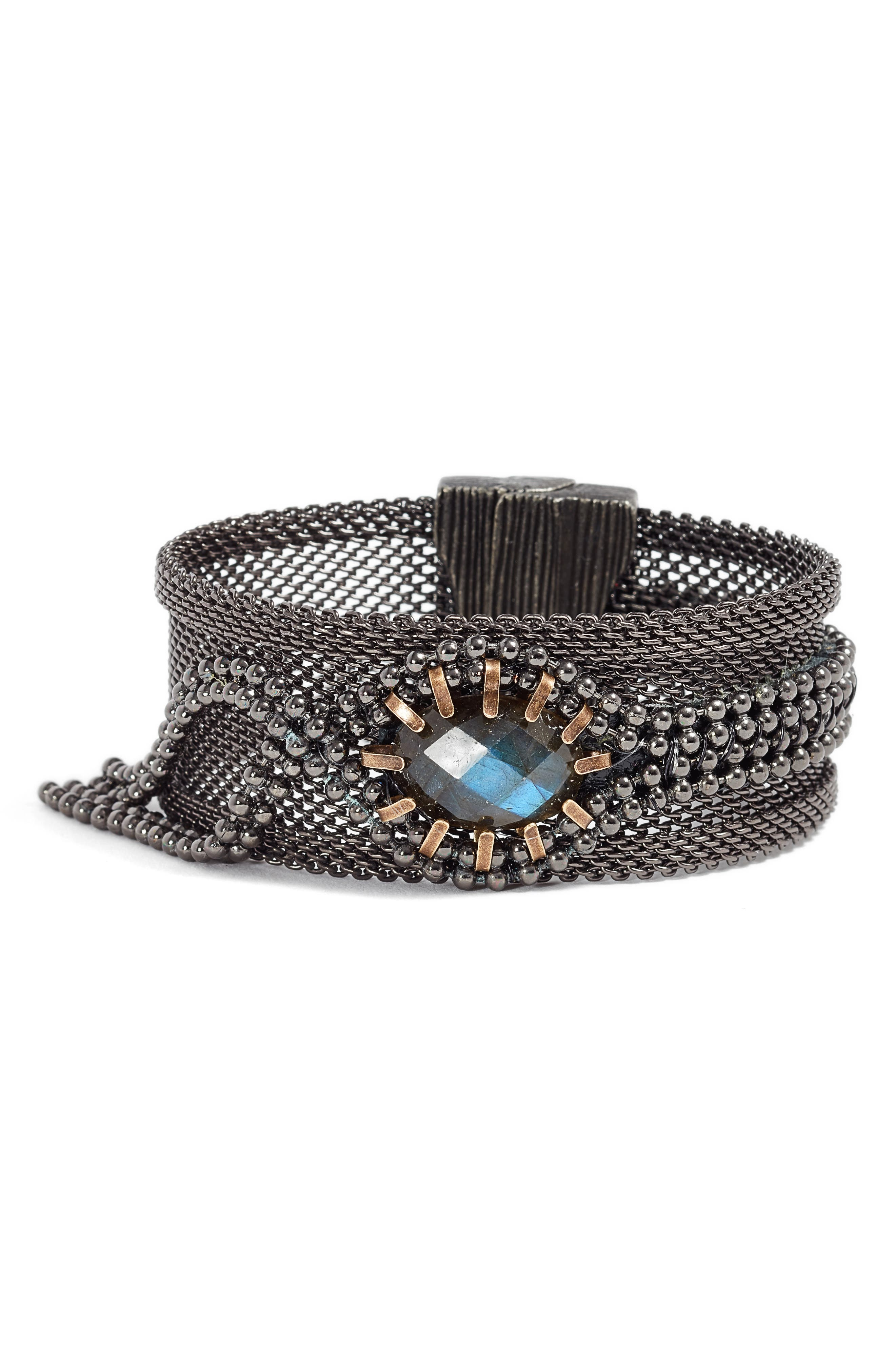 Labradorite Bracelet,                             Main thumbnail 1, color,                             BLUE/ GREEN/ GUNMETAL