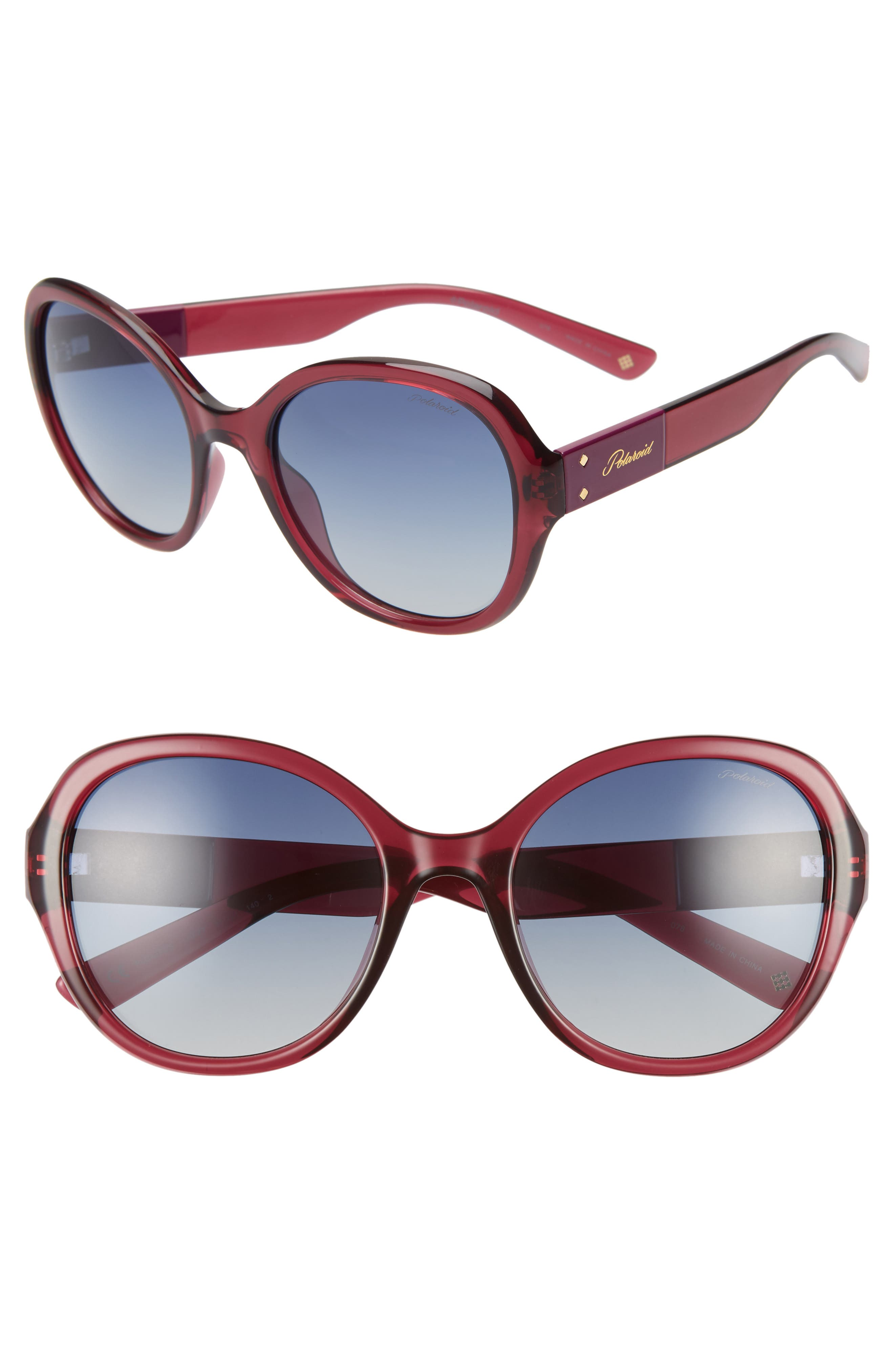 Polaroid 55Mm Polarized Round Sunglasses - Ople Burgundy