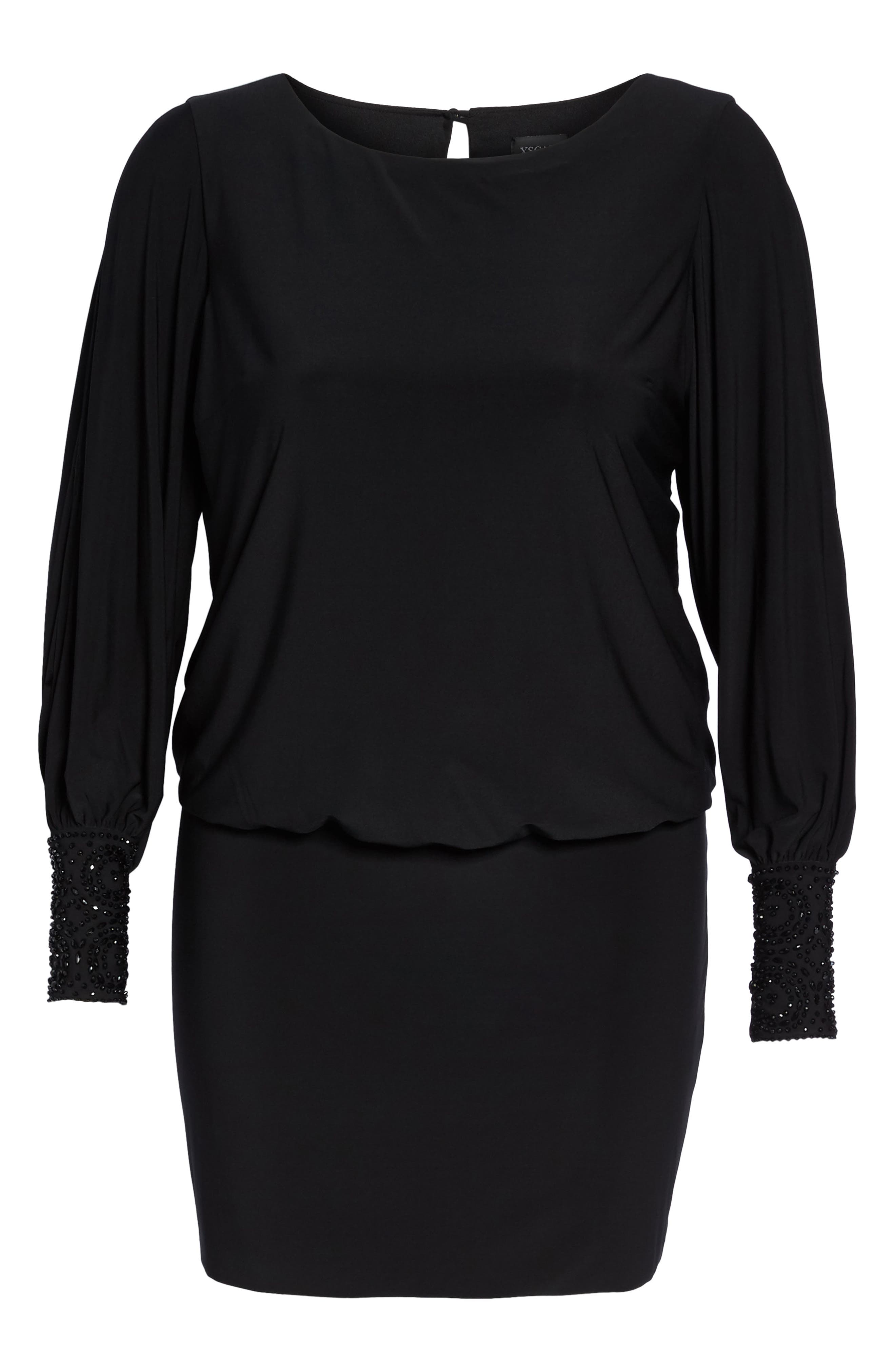 Embellished Cuff Blouson Jersey Dress,                             Alternate thumbnail 8, color,                             BLACK