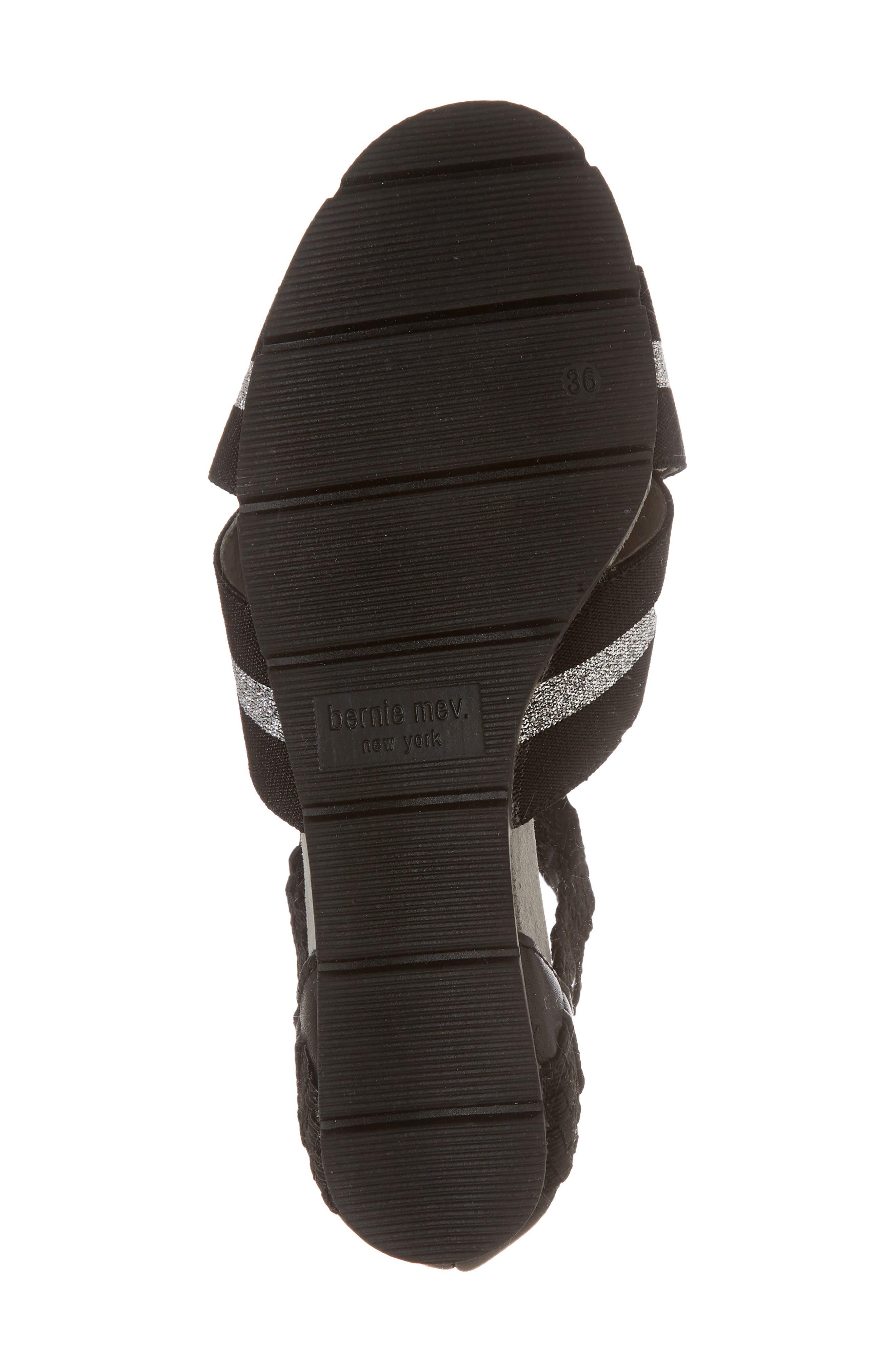 Maldives Wedge Sandal,                             Alternate thumbnail 6, color,                             BLACK FABRIC