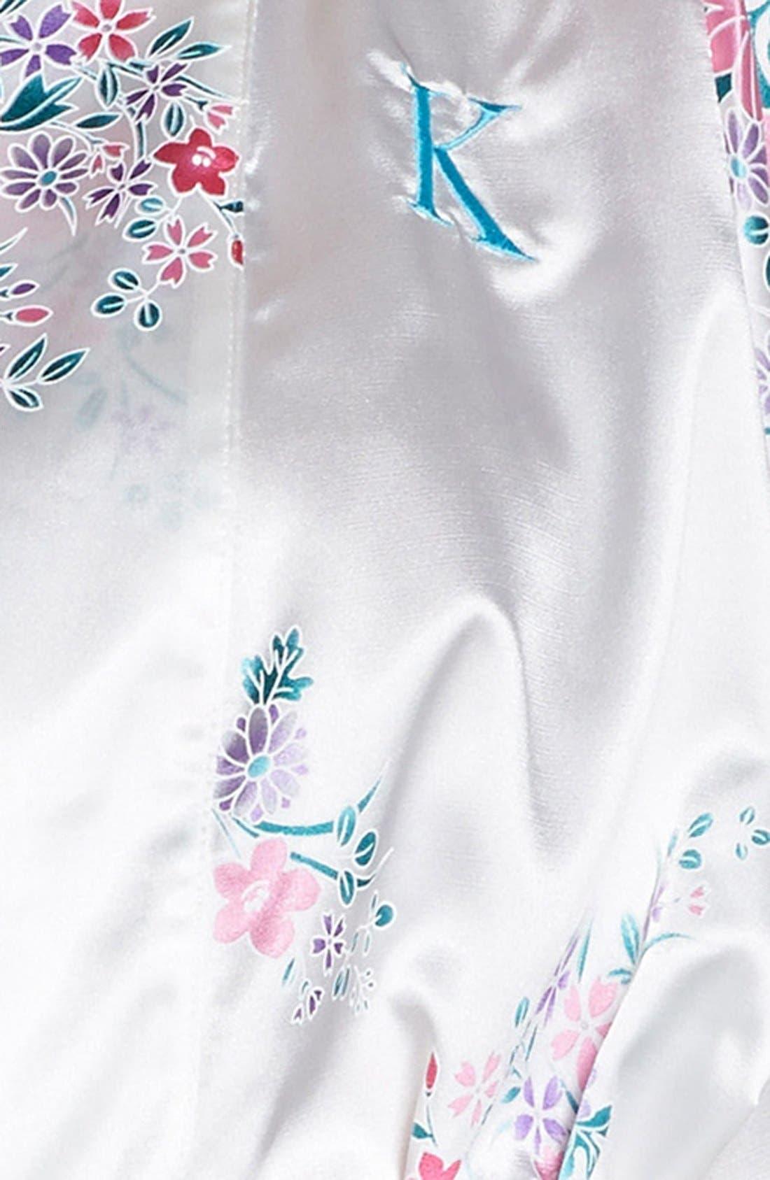 Monogram Floral Satin Robe,                             Alternate thumbnail 145, color,